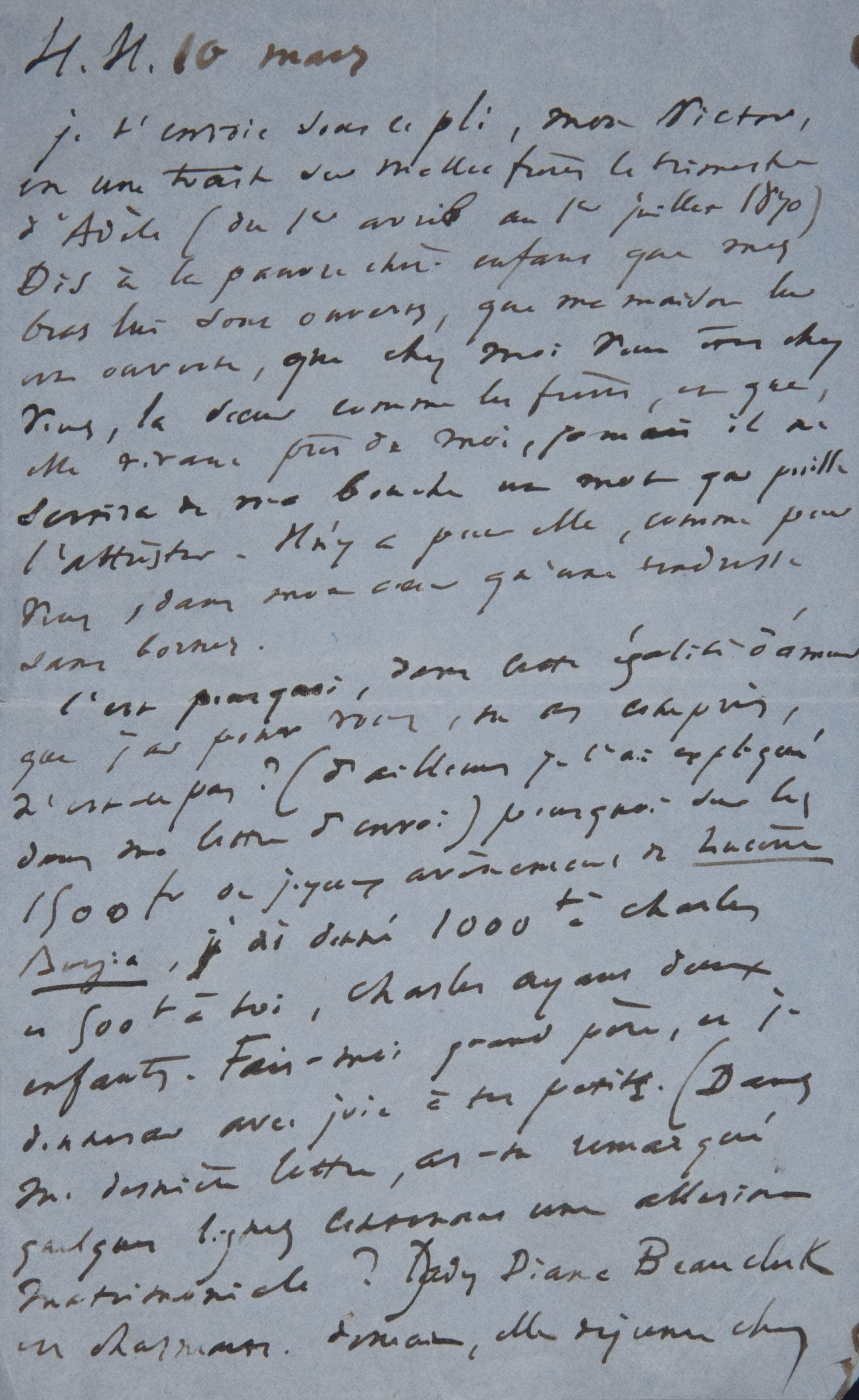Victor Hugo Lettre Autographe Non Signee Adressee A Son Fils