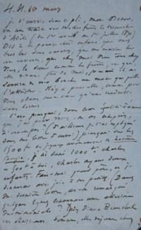 """VICTOR HUGO. Lettre autographe, non signée, adressée à son fils François-Victor. Datée """"H[auteville] H[ouse] 10 mars"""" [1870]."""