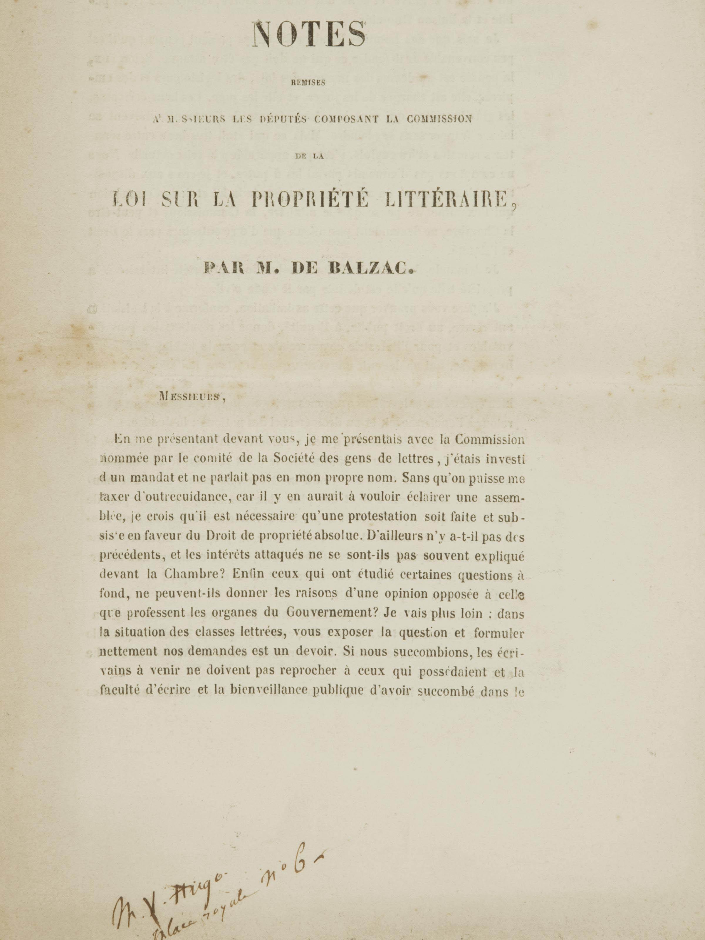 HONORÉ DE BALZAC (1799-1850). Notes remises à Messieurs les députés composant la commission de la loi sur la propriété littéraire. Paris: mars 1841 [mal daté 3 mars 1840].