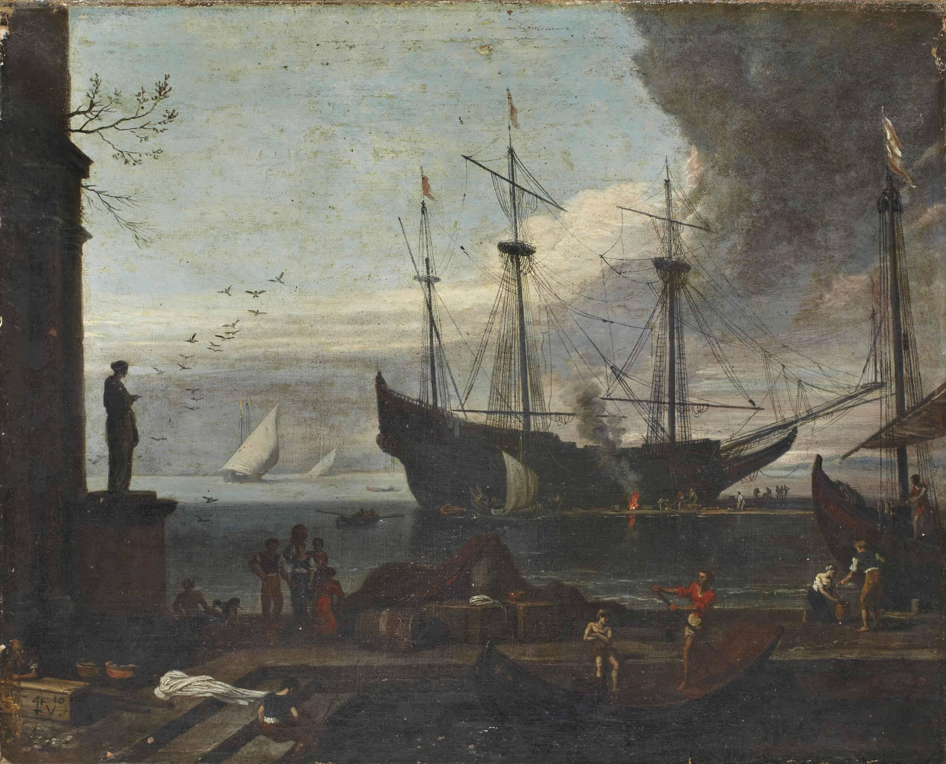 Bateau dans un port animé au crépuscule