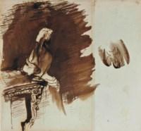 Femme debout devant une console et étude subsidiaire d'un ornement