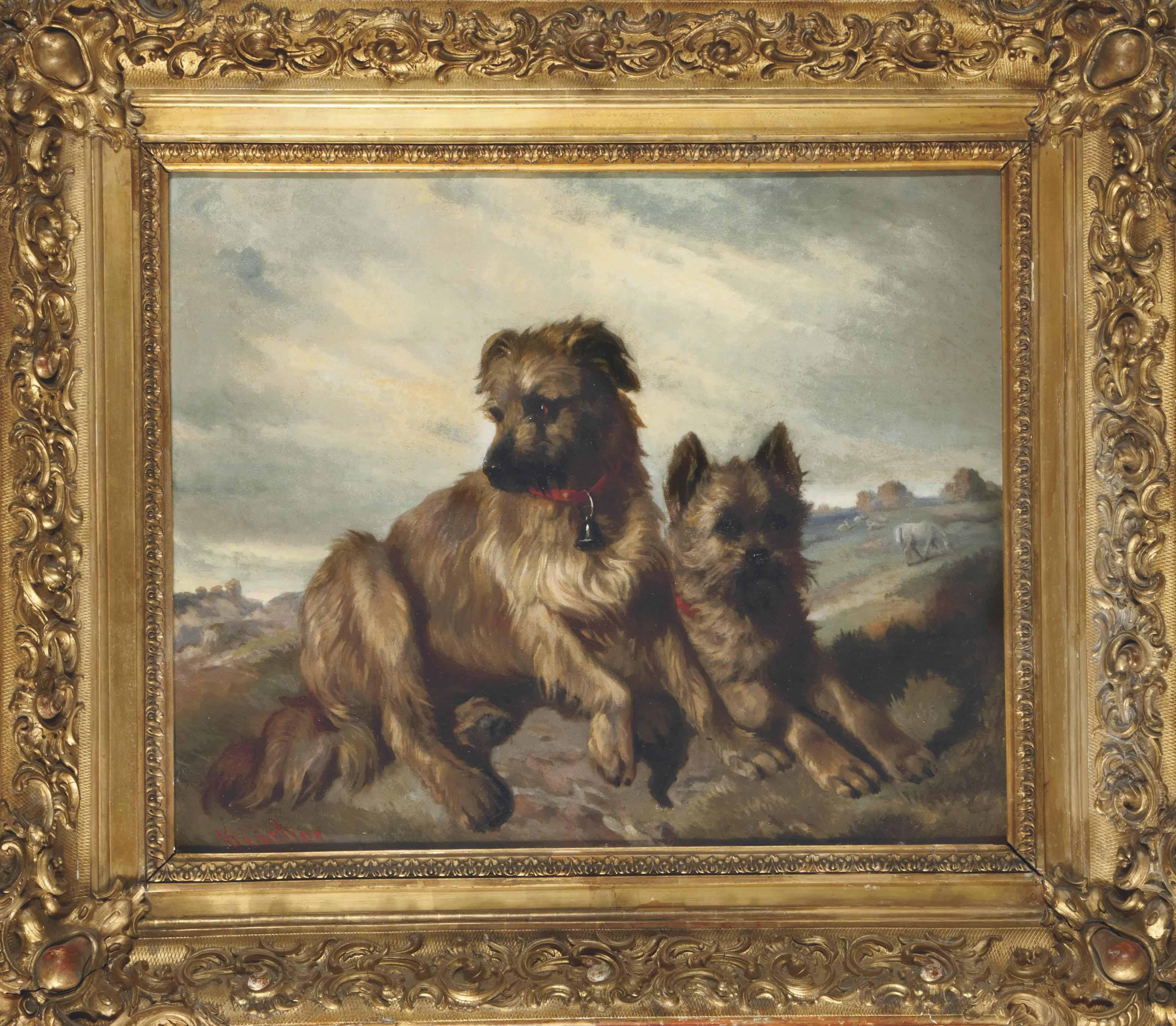 Deux Fox-Terriers dans un paysage