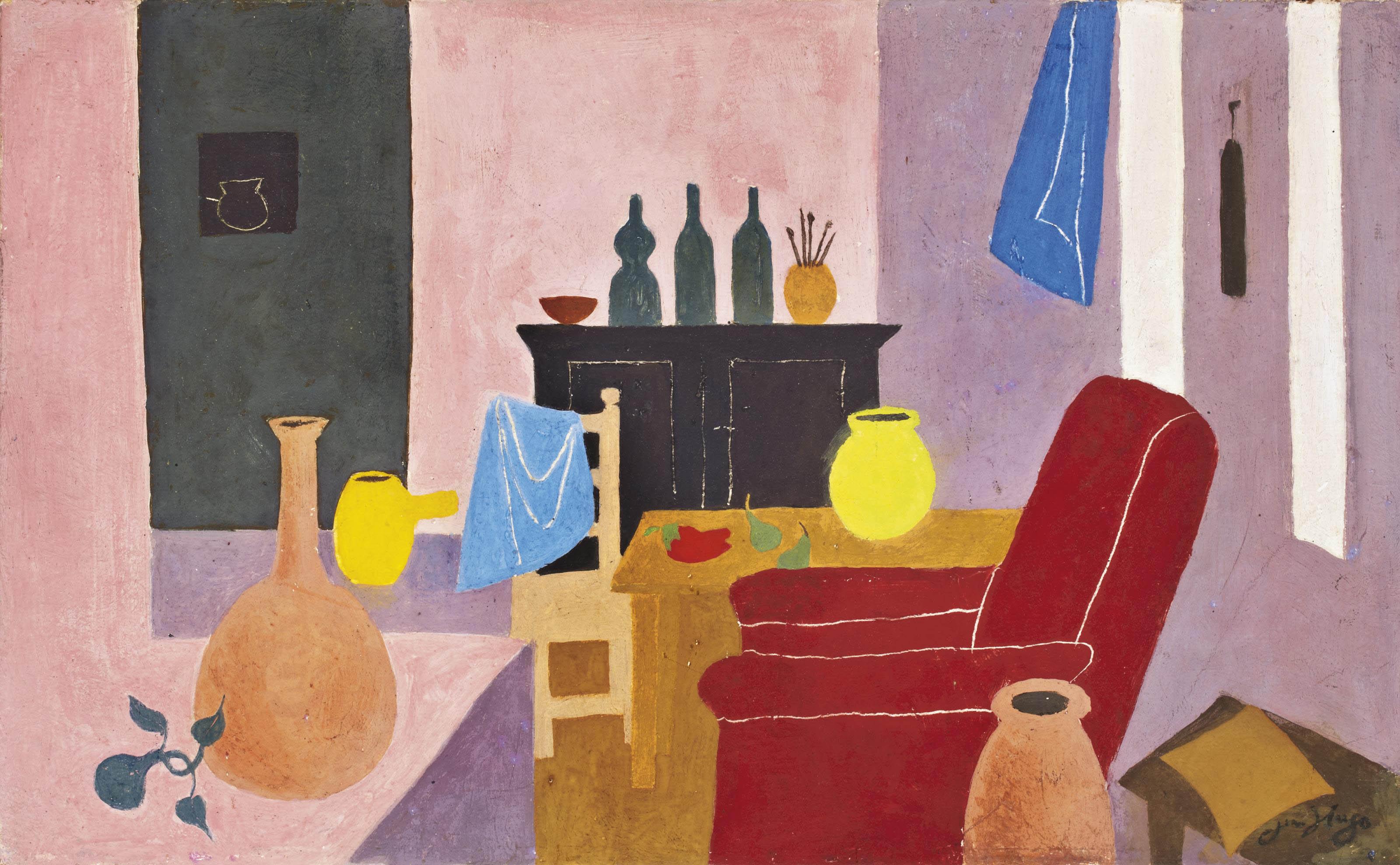 Intérieur du Cazal, fauteuil rouge, 1968