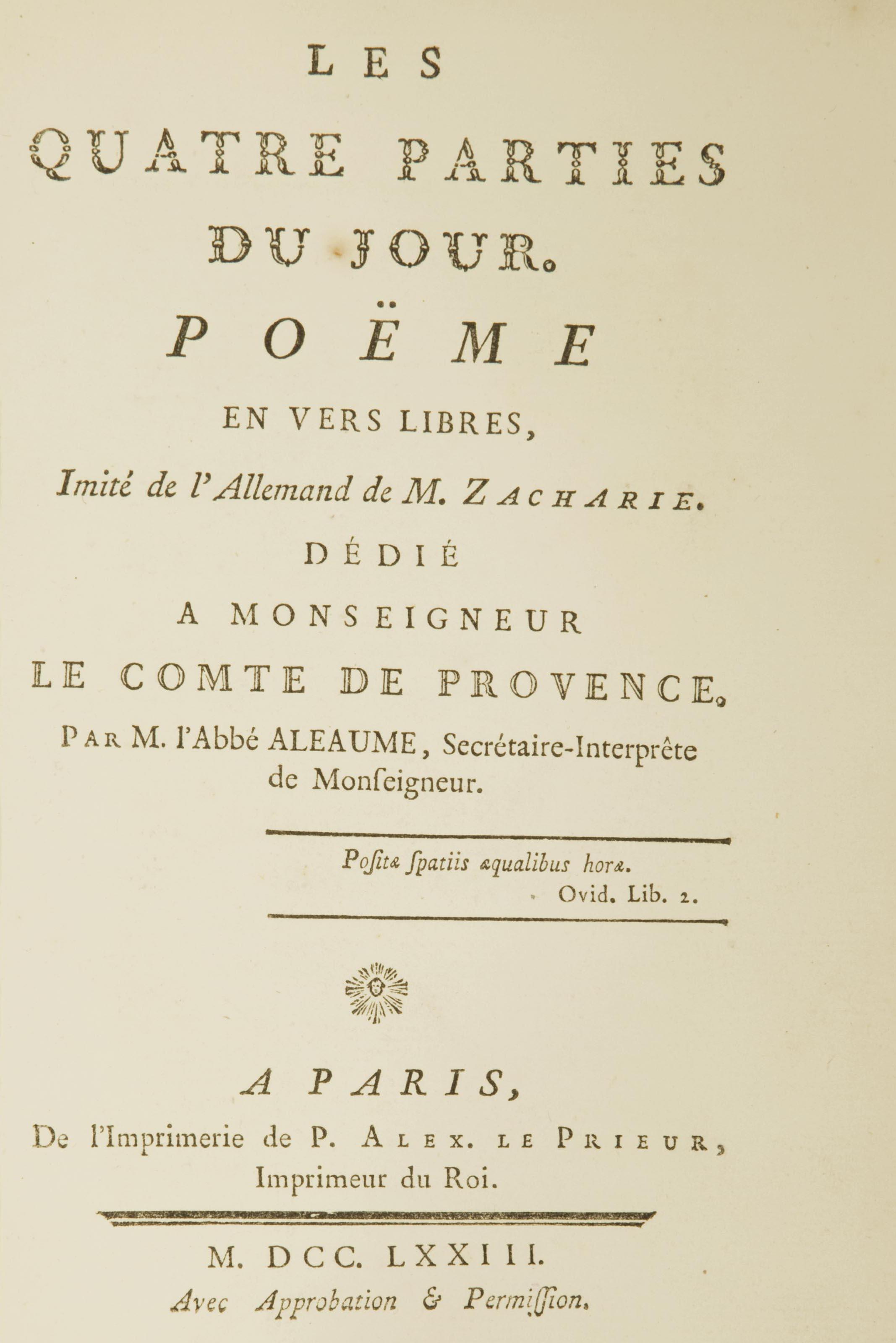 Zacharie Les Quatre Parties Du Jour Poëme En Vers
