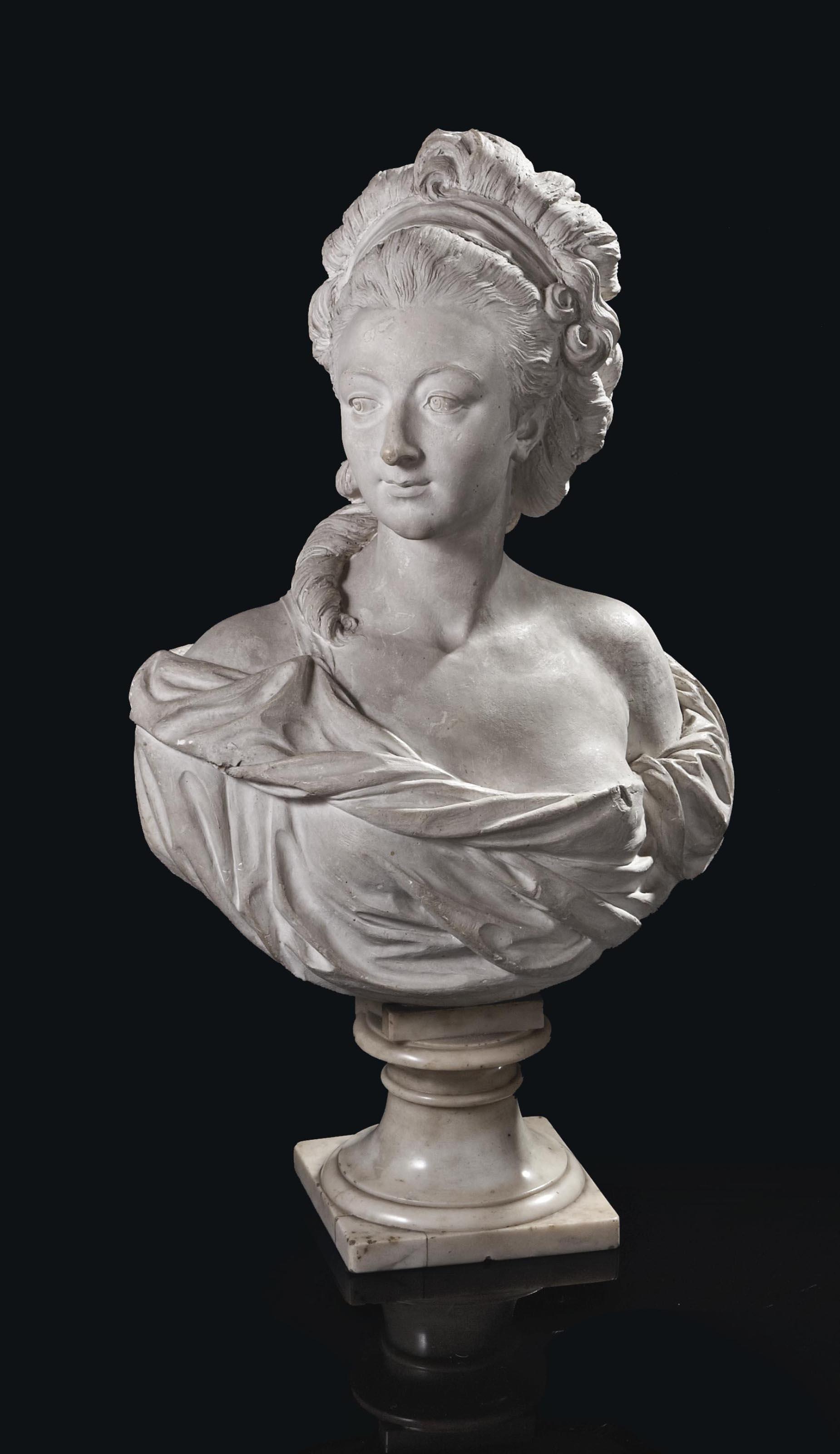 buste en platre presume representer francoise louis de pange 1757 1777 future duchesse de. Black Bedroom Furniture Sets. Home Design Ideas