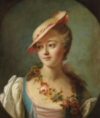 """Portrait de femme, dit """"La marquise de Pompadour"""", en buste dans un ovale feint"""