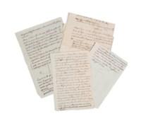 VOLTAIRE. Réunion de 3 feuillets autographes (in-8, in-12 et in-4) dont deux avec figures, non signés, et d'un feuillet in-12 portant une correction et un ajout de sa main.