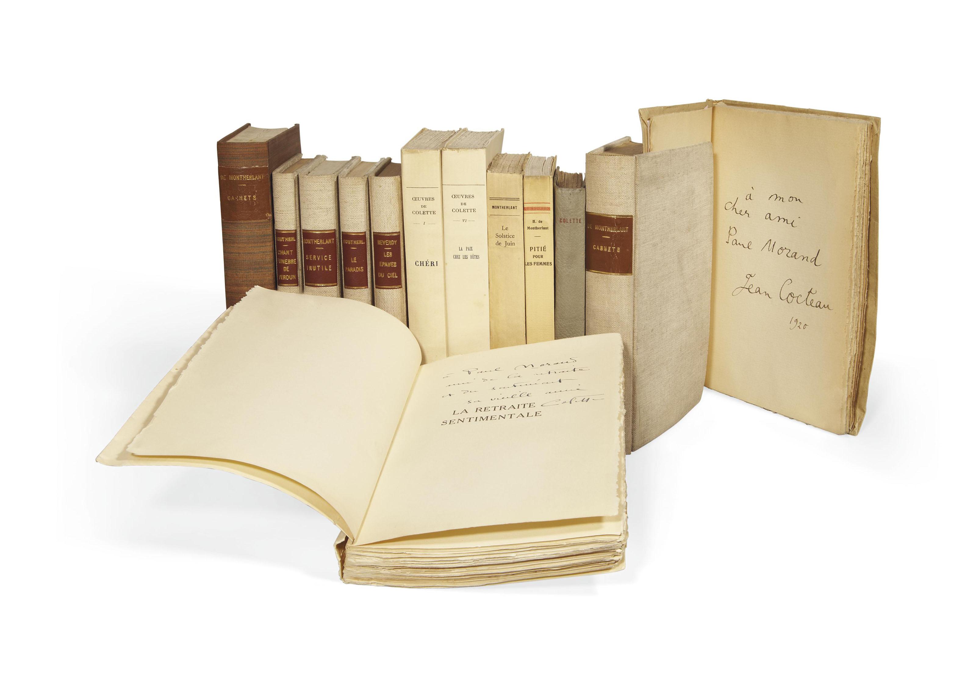 [MORAND, Paul] -- Réunion de 32 textes de Montherlant, Colette, Cocteau, Drieu La Rochelle, Crevel, Breton, etc., en édition originale, la plupart brochés et chacun enrichi d'un envoi autographe signé de l'auteur à Paul Morand dont: