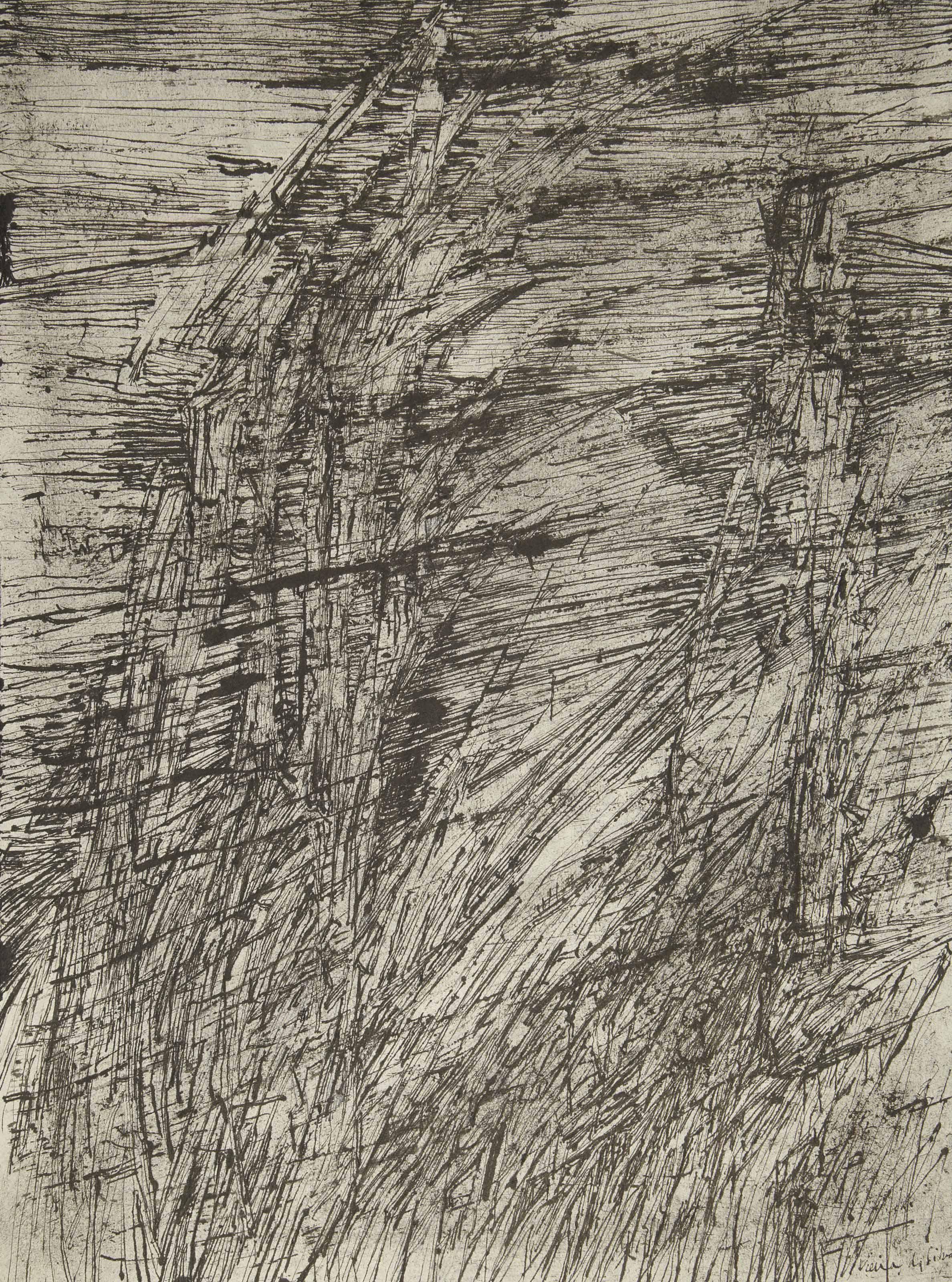 [VIEIRA DA SILVA] -- CHAR, René (1907-1988). L'Inclémence lointaine. Avec vingt-cinq gravures au burin de Vieira da Silva. Paris: Pierre Berès, 1961.