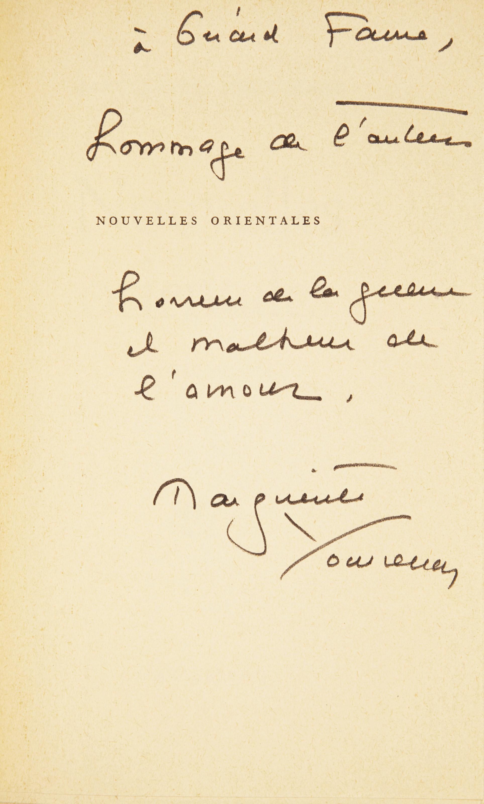 YOURCENAR, Marguerite de Crayencour, dite (1903-1987). Nouvelles orientales. Paris: NRF, avril 1963.