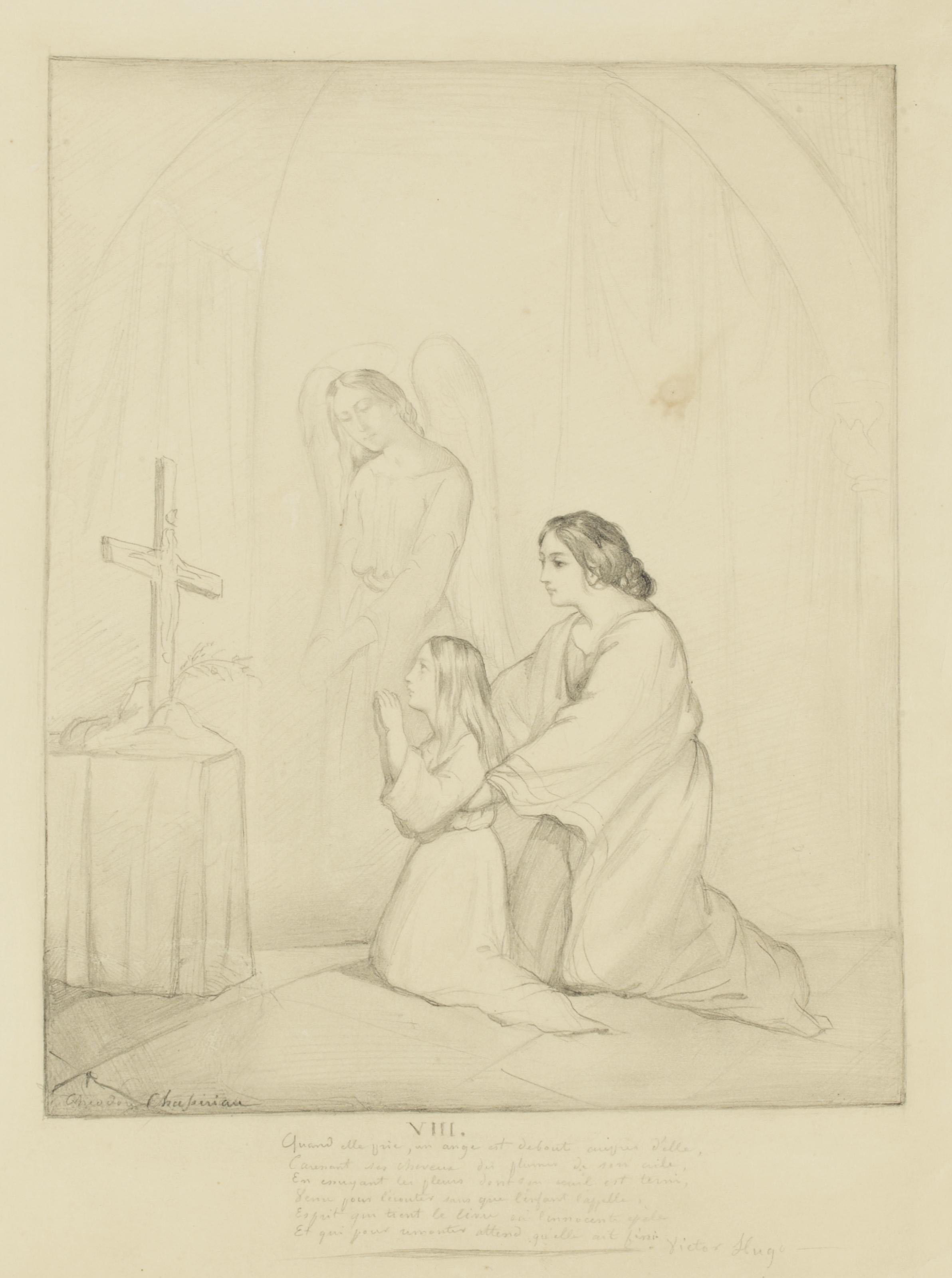 Femme et fillette, accompagnées d'un ange, en prière devant un crucifix