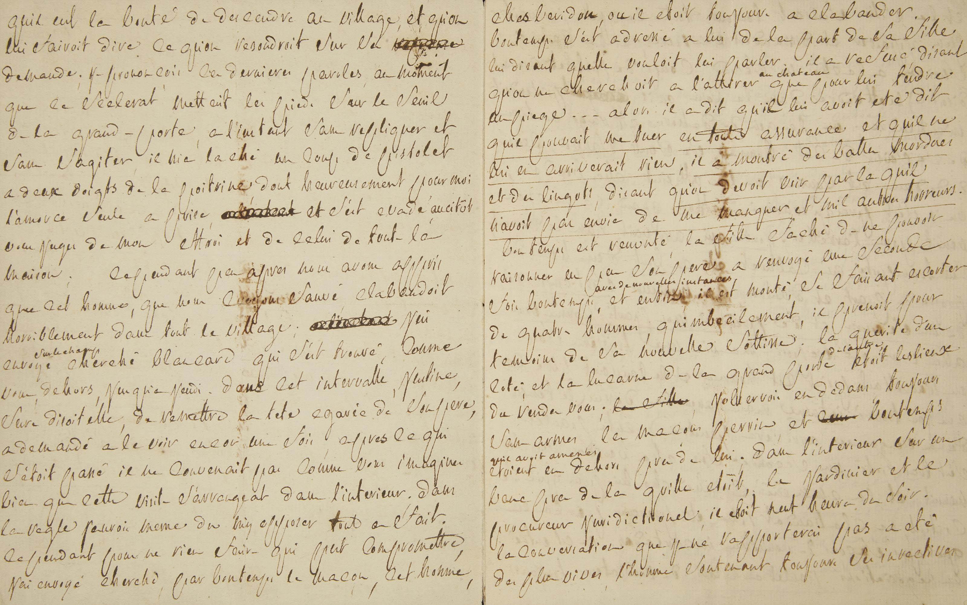 SADE, Donatien-Alphonse-François, marquis de (1740-1814). Lettre autographe à son avocat [Gaufridy], 8 pages in-4 (198 x 156 mm), sans date (peu après le 20 janvier 1777). (Traces de pliures.)