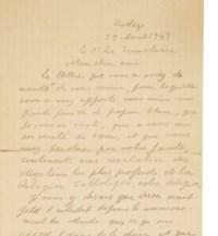 ARTAUD, Antonin (1896-1948). Lettre autographe signée au docteur La Trémolière datée Rodez 29 avril 1943. 4 pages in-8 sur une grande feuille (214 x 240 mm), crayon sur papier, datée Rodez 29 avril 1943. (Traces de pliures.)