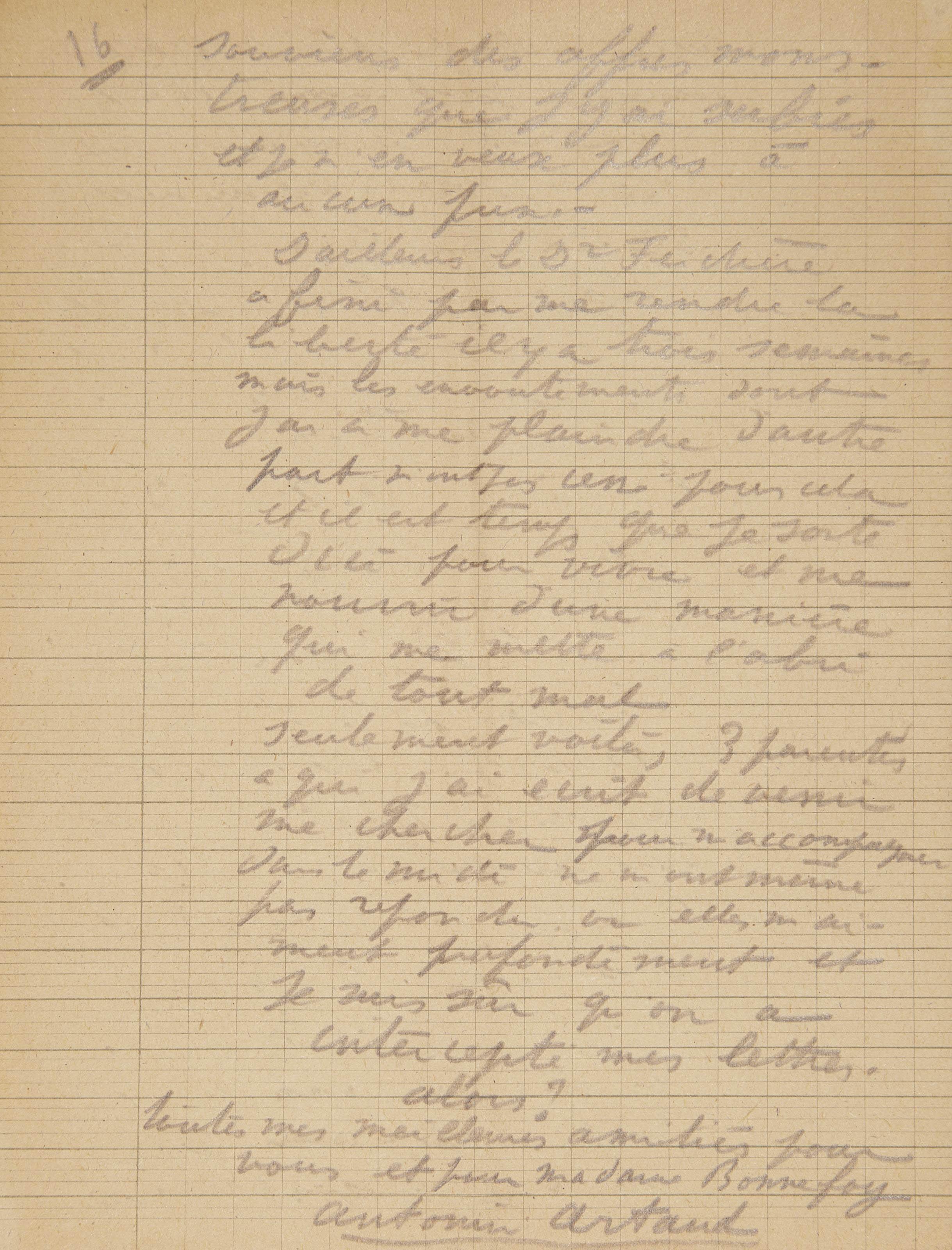 ARTAUD, Antonin (1896-1948). Lettre autographe signée de 16 pages recto-verso in-8 (210 x 160 mm), crayon sur papier d'écolier, adressée à Jacques Bonnefoy et datée Rodez 13 septembre 1945. (Traces de pliures, manque de quelques lettres sur le premier feuillet qui a été collé sur l'enveloppe.)