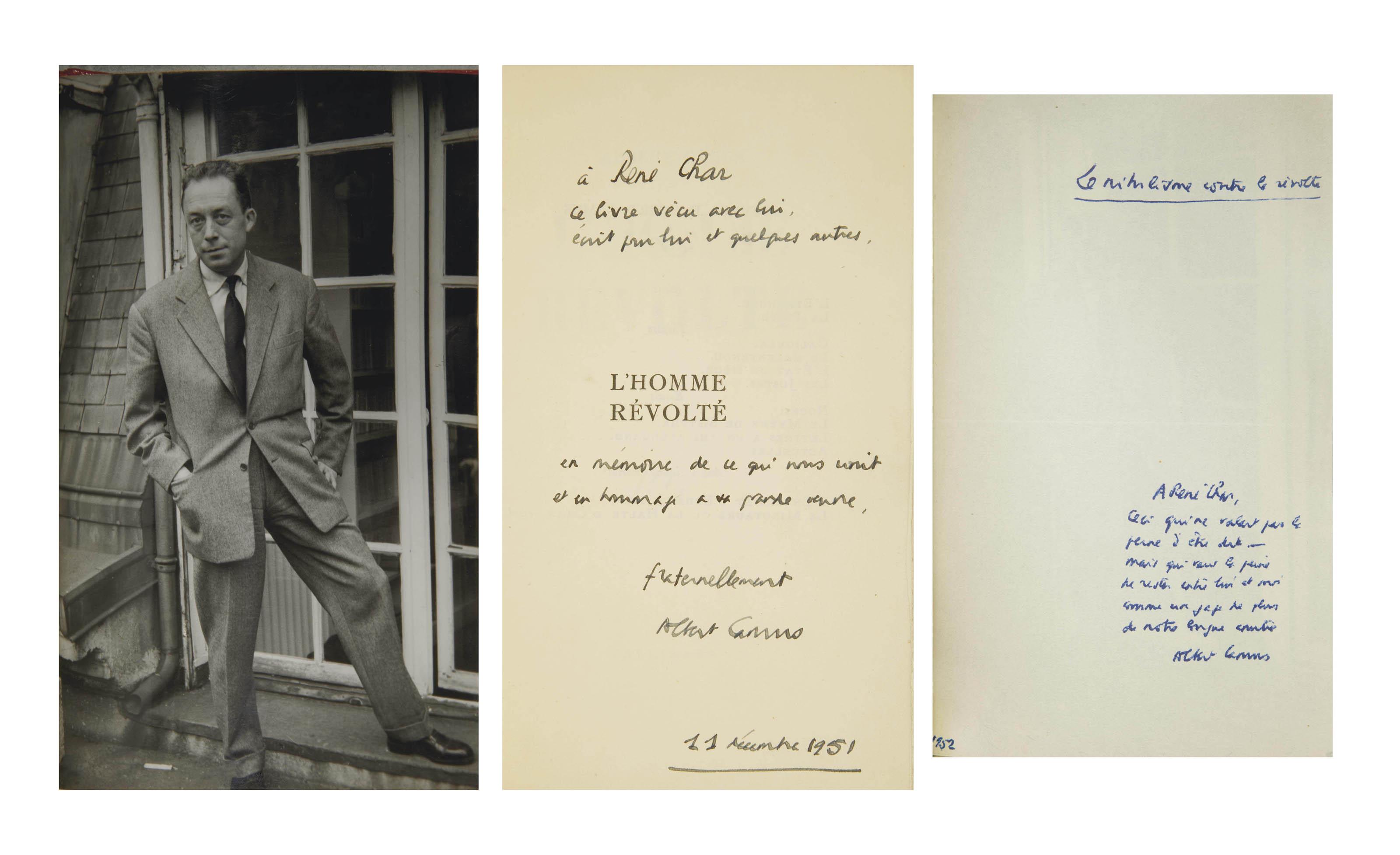 CAMUS, Albert (1913-1960). L'Homme révolté. Paris: NRF, 1951.