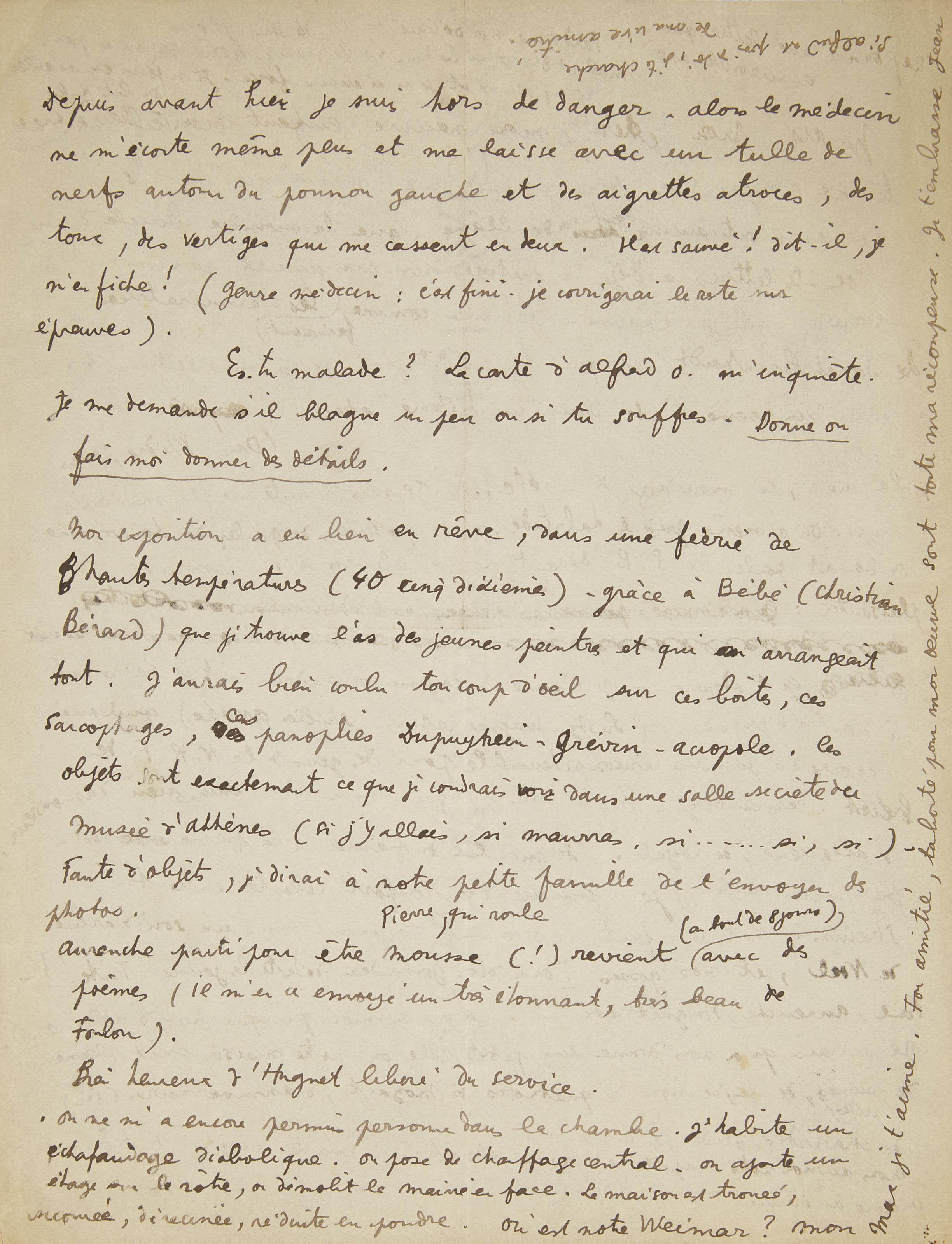 """COCTEAU, Jean (1889-1963). Lettre autographe signée """"Jean"""". 2 pages in-4 sur un feuillet recto-verso (270 x 210 mm), adressée à Max [Jacob], sans date [entre le 9 et 15 mars 1925]. (Traces de pliures.)"""