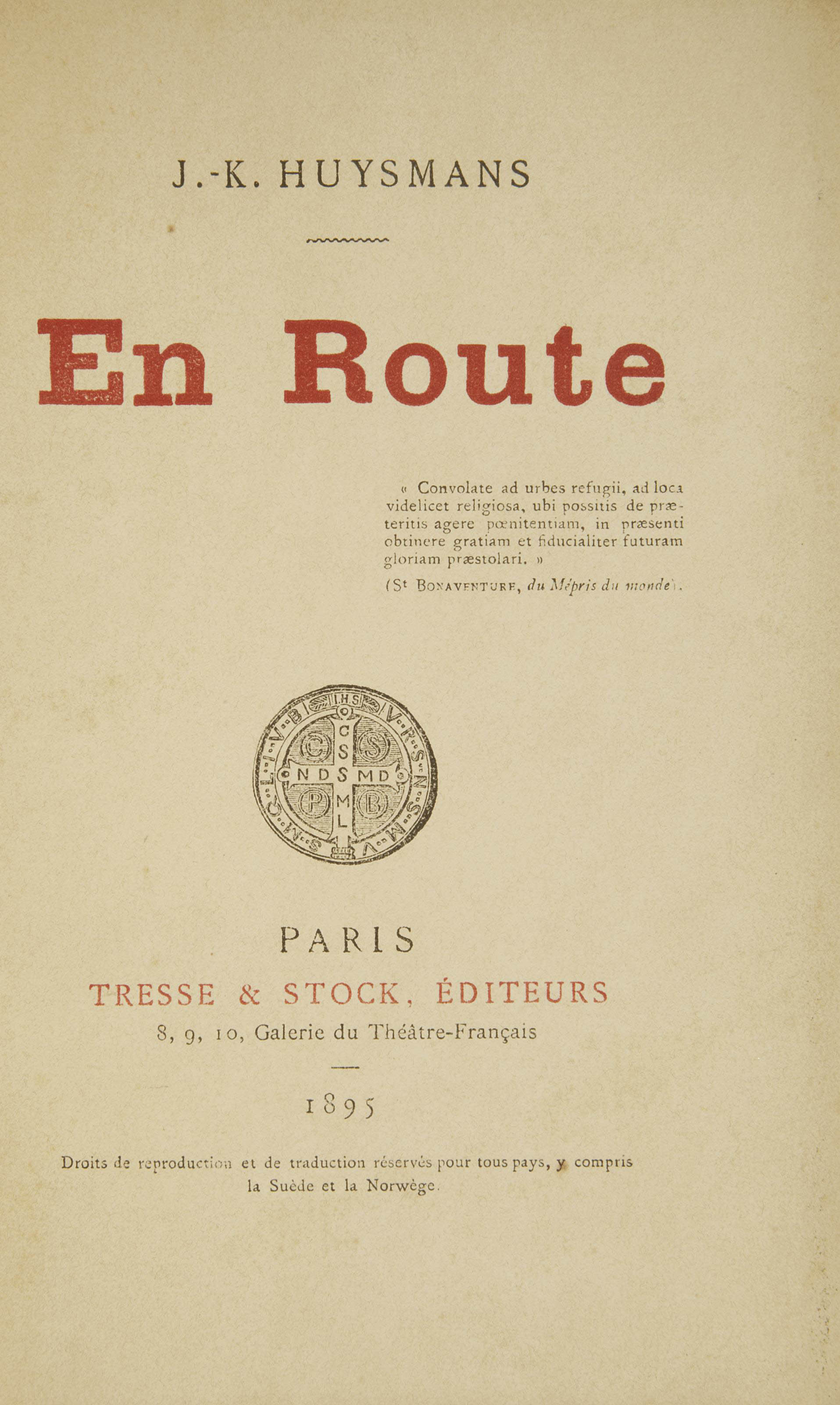 HUYSMANS, Joris-Karl (1848-1907). En route. Paris: Tresse et Stock, 1897.