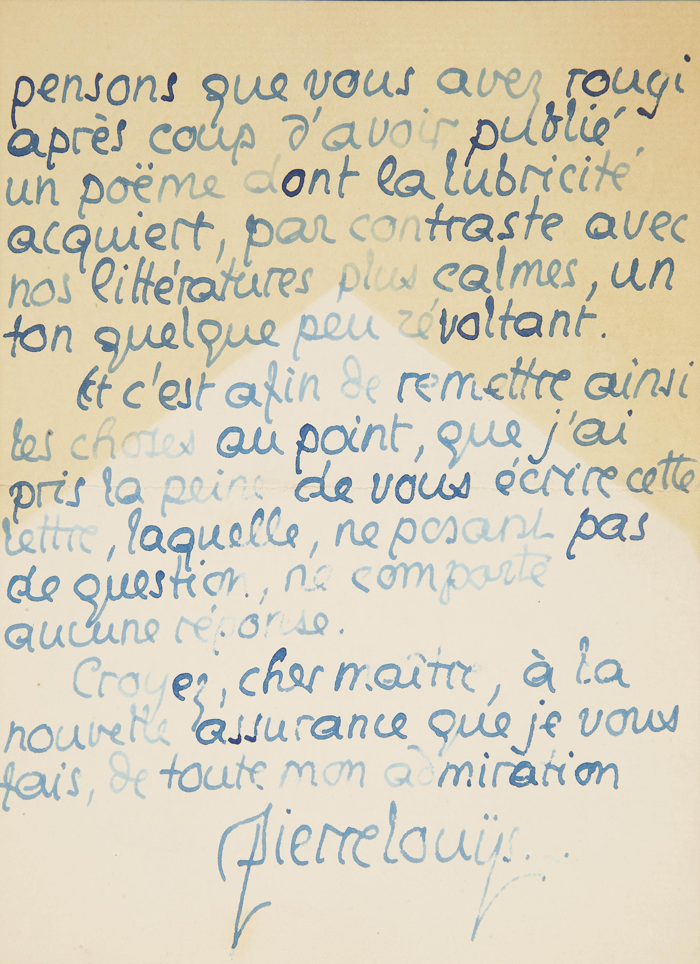LOUYS, Pierre (1870-1925). Lettre autographe signée à André Gide sans date (22 mai 1896), 4 pages in-8 (173 x 128 mm), avec enveloppe.