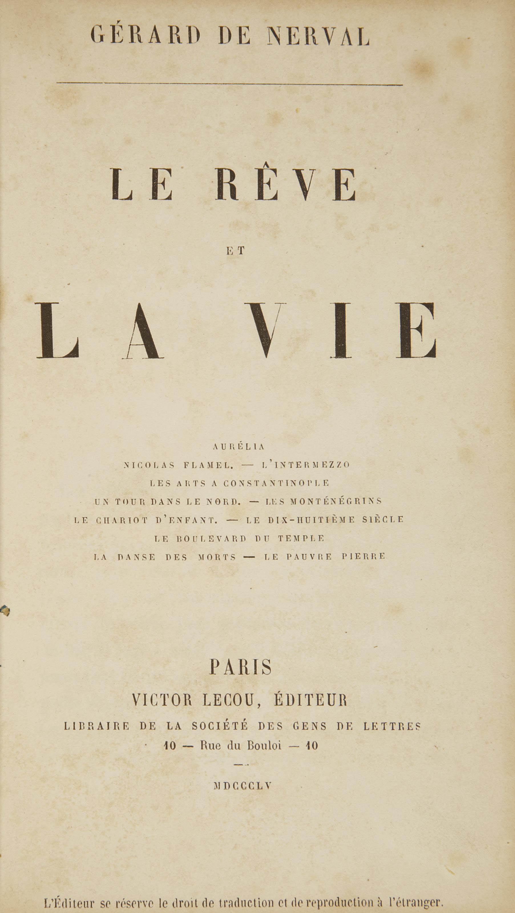 NERVAL, Gérard de (1808-1855). Scènes de la vie orientale. Les Femmes du Caire - Les Femmes du Liban. Paris: Hippolyte Souverain, 1850.
