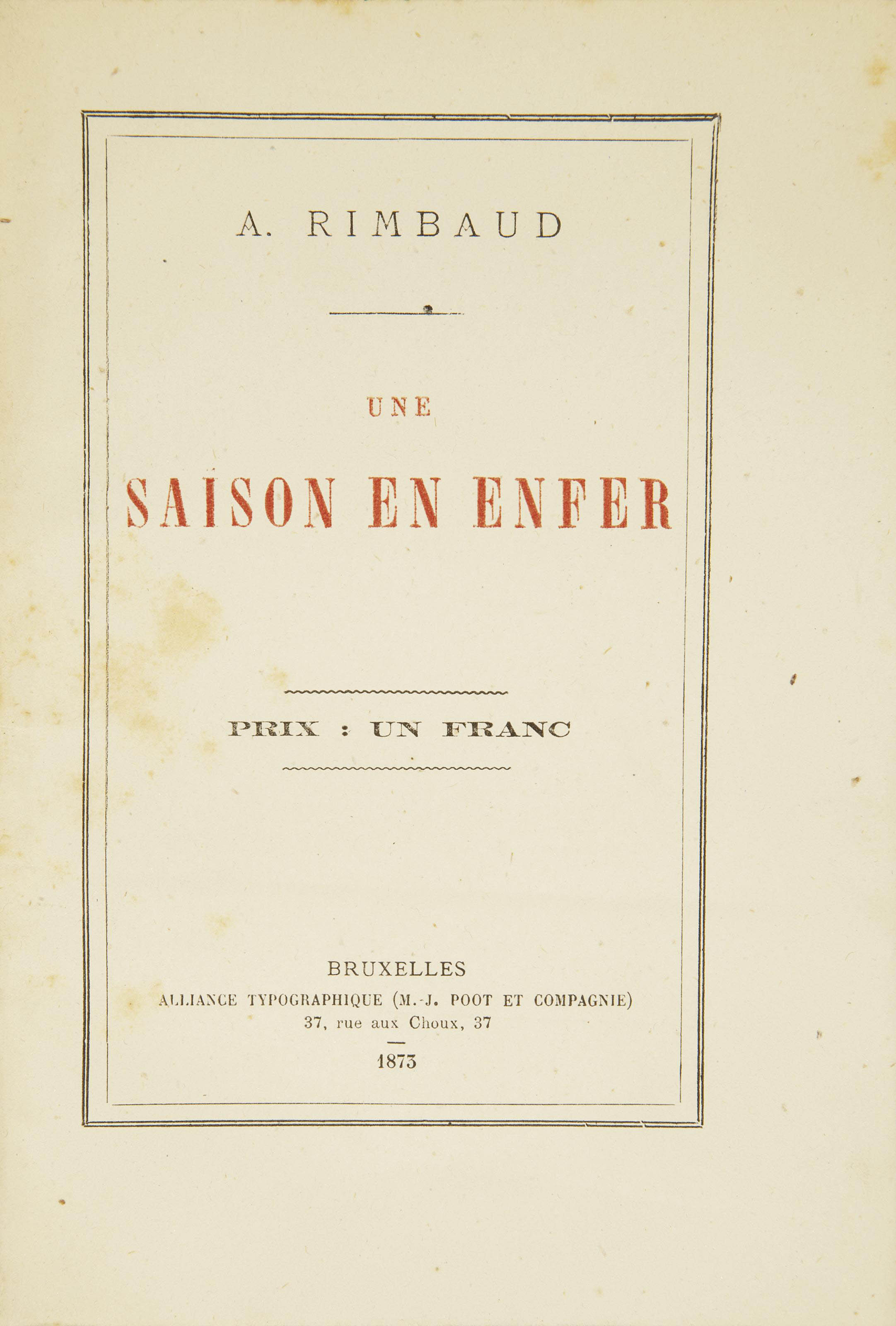 Rimbaud Arthur 1854 1891 Une Saison En Enfer Bruxelles