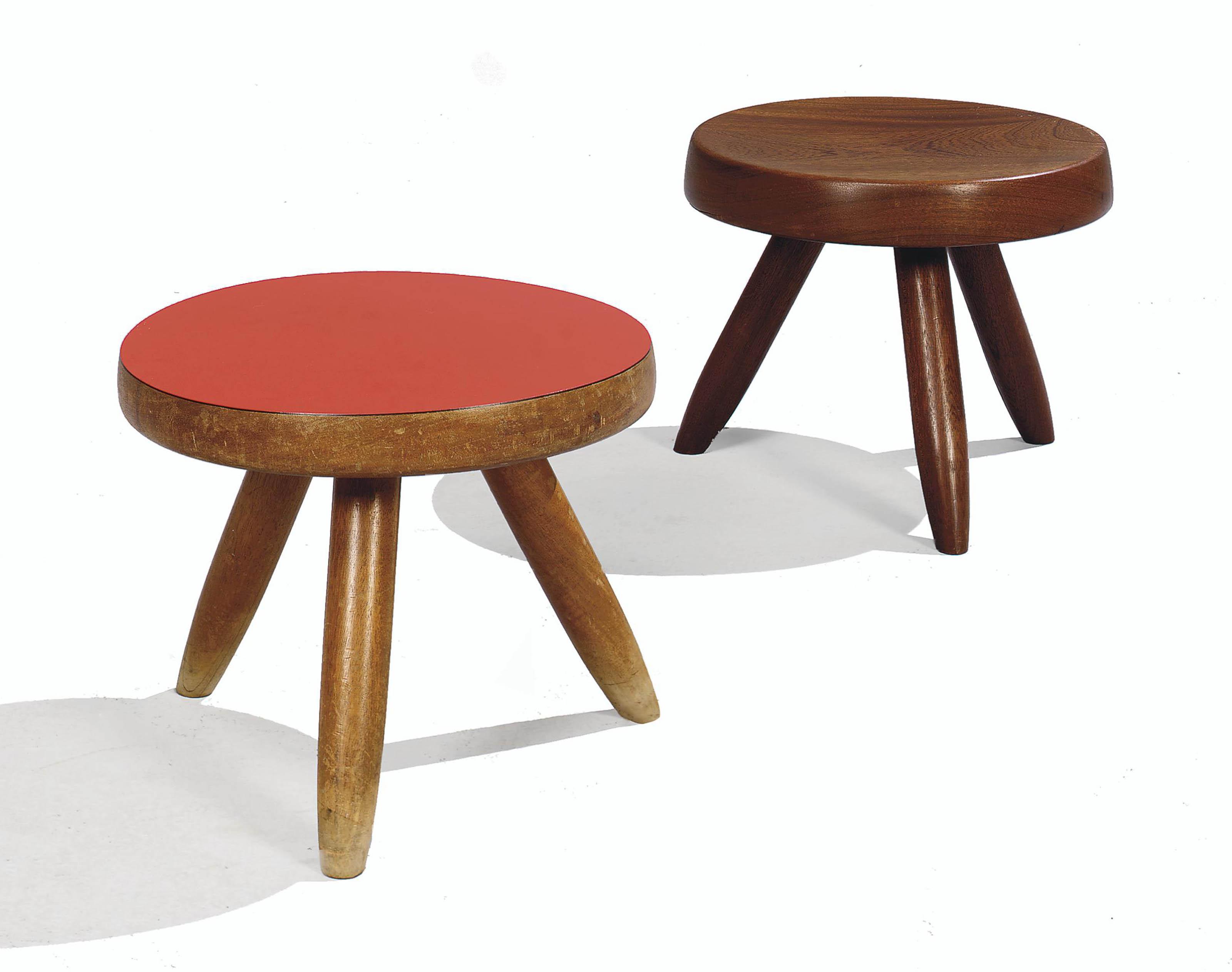 charlotte perriand 1903 1999 deux tabourets tripodes vers 1955 1960 christie 39 s. Black Bedroom Furniture Sets. Home Design Ideas