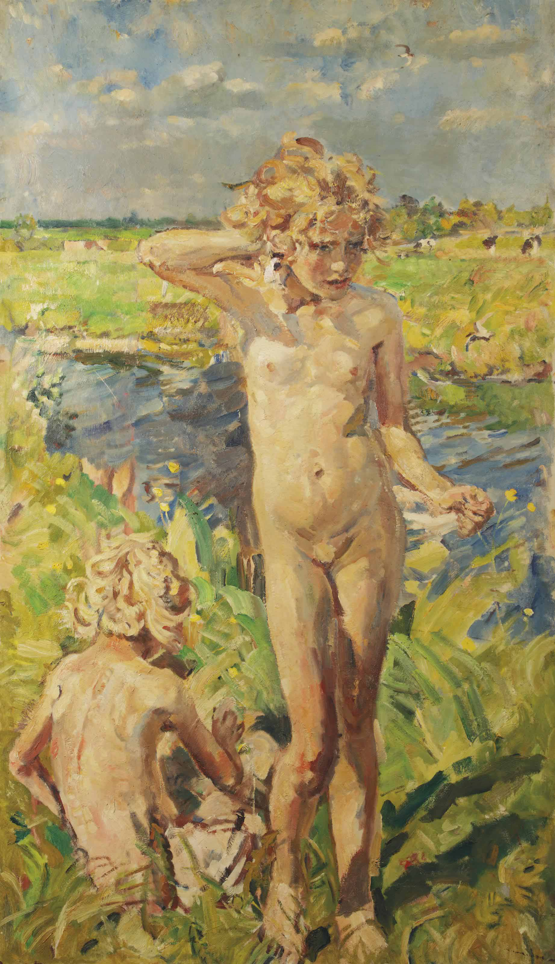 Girls playing near the river Aa