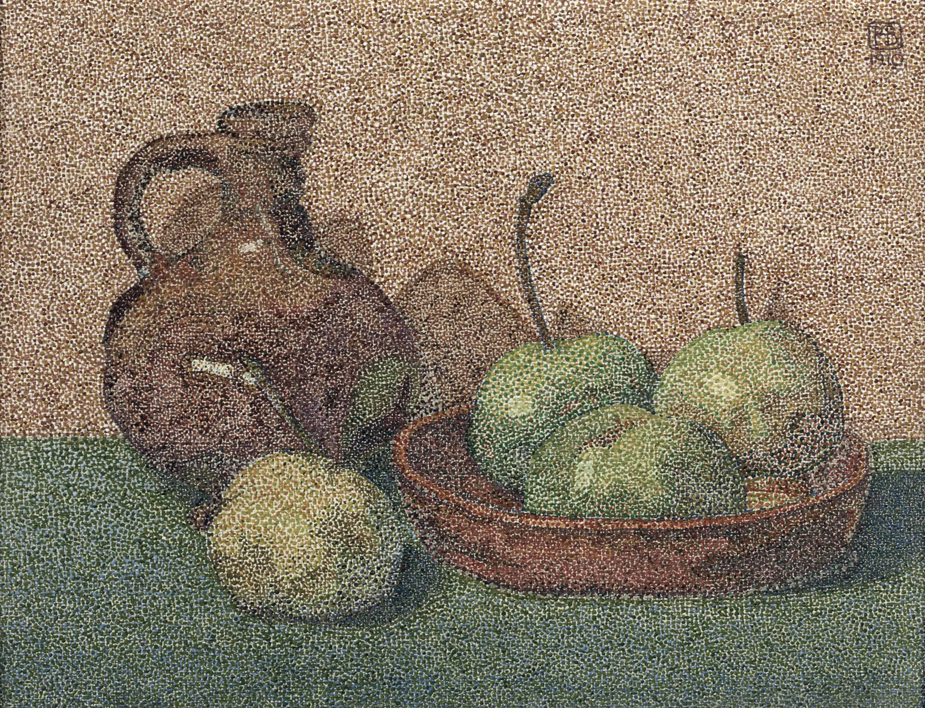 A still life with green apples