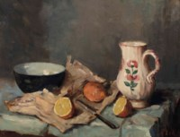 A still life with fruits, a jug and a bowl