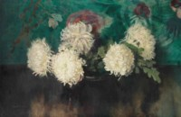 A still life with chrysanthemums and oak leafs