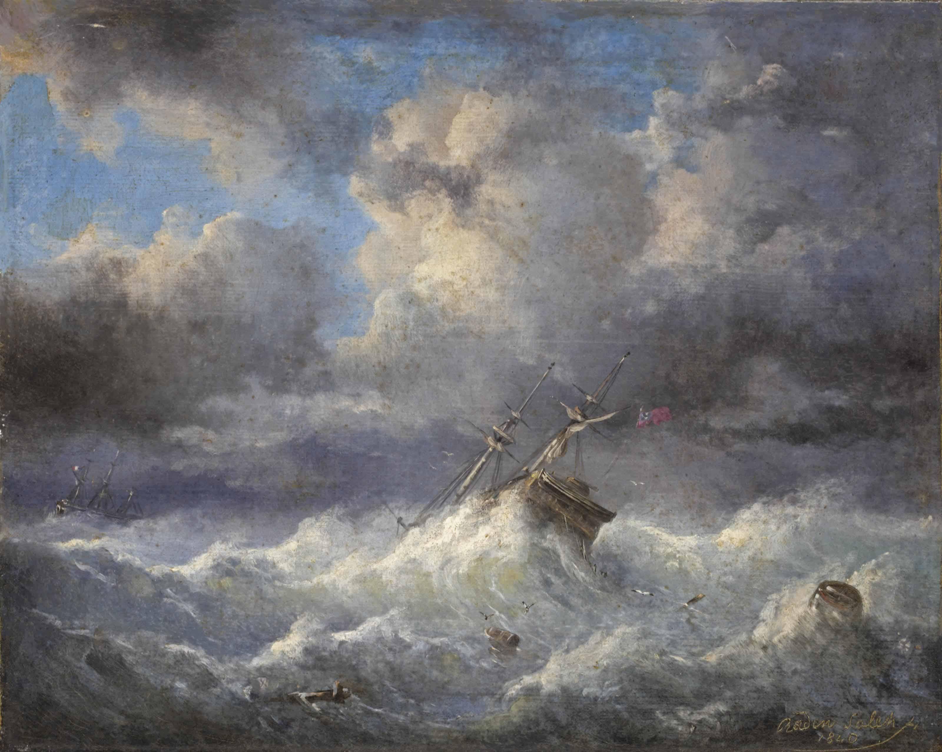 British marine vessel in heavy weather