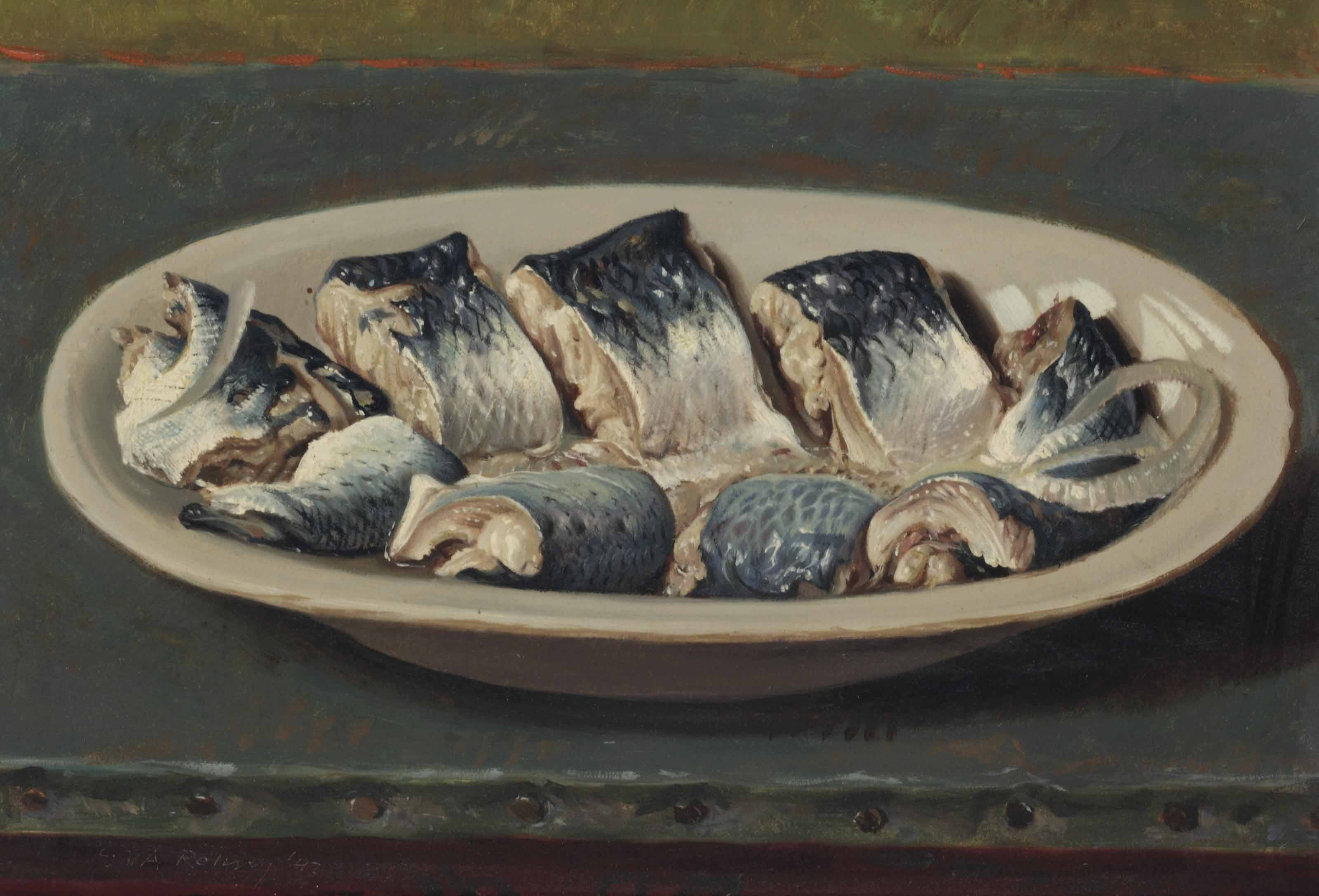 A still life with pickled herring on a dish