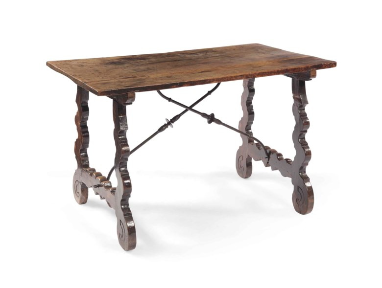A Spanish walnut refectory table, of baroque style. 76  cm x 123  cm wide x 69  cm deep. Sold in March 2013 at Christie's in Amsterdam