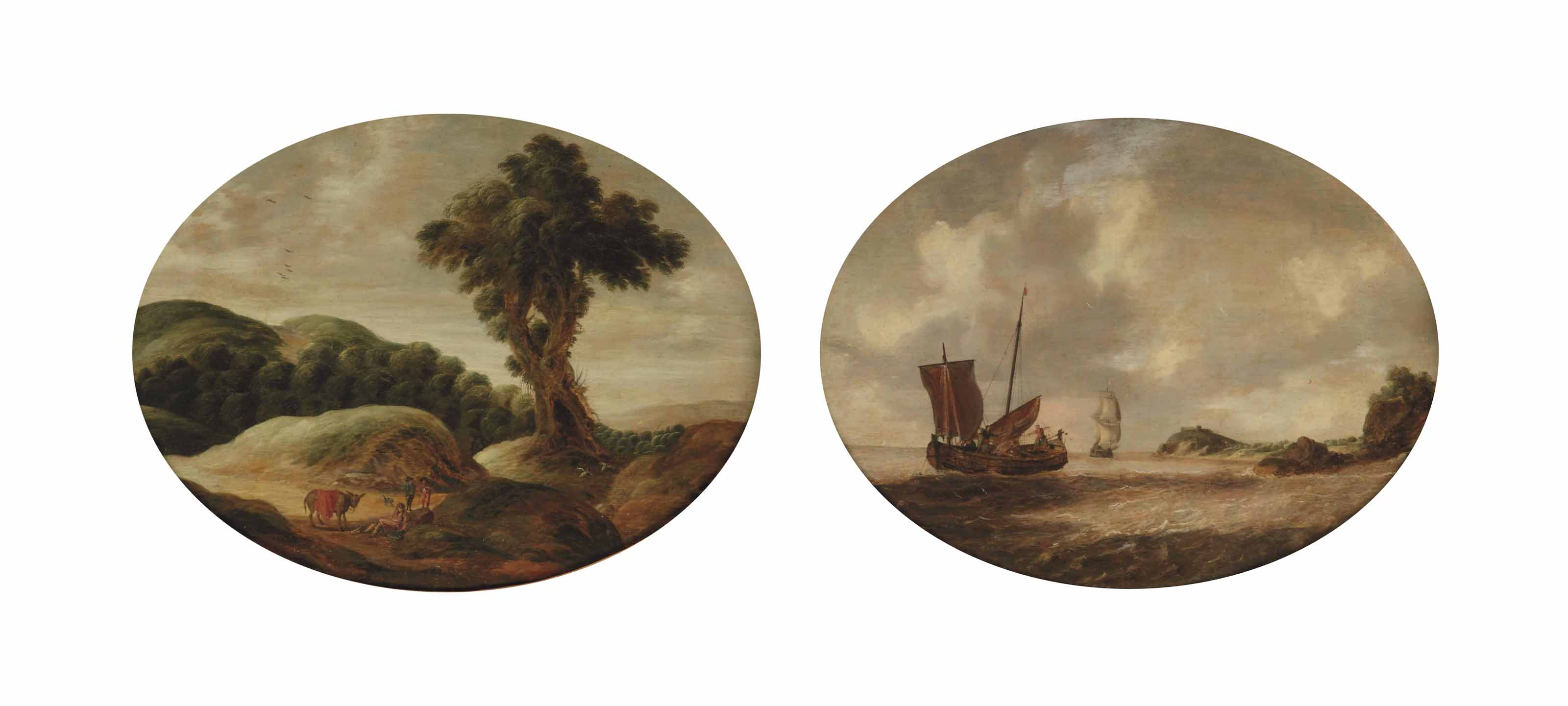 A hilly landscape with travellers resting on a track; and A coastal landscape with a small ship and a man-o'-war on choppy waters