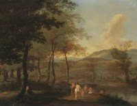 A wooded landscape with nymphs and putti bathing