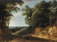 A wooded landscape with figures on a path, a village beyond