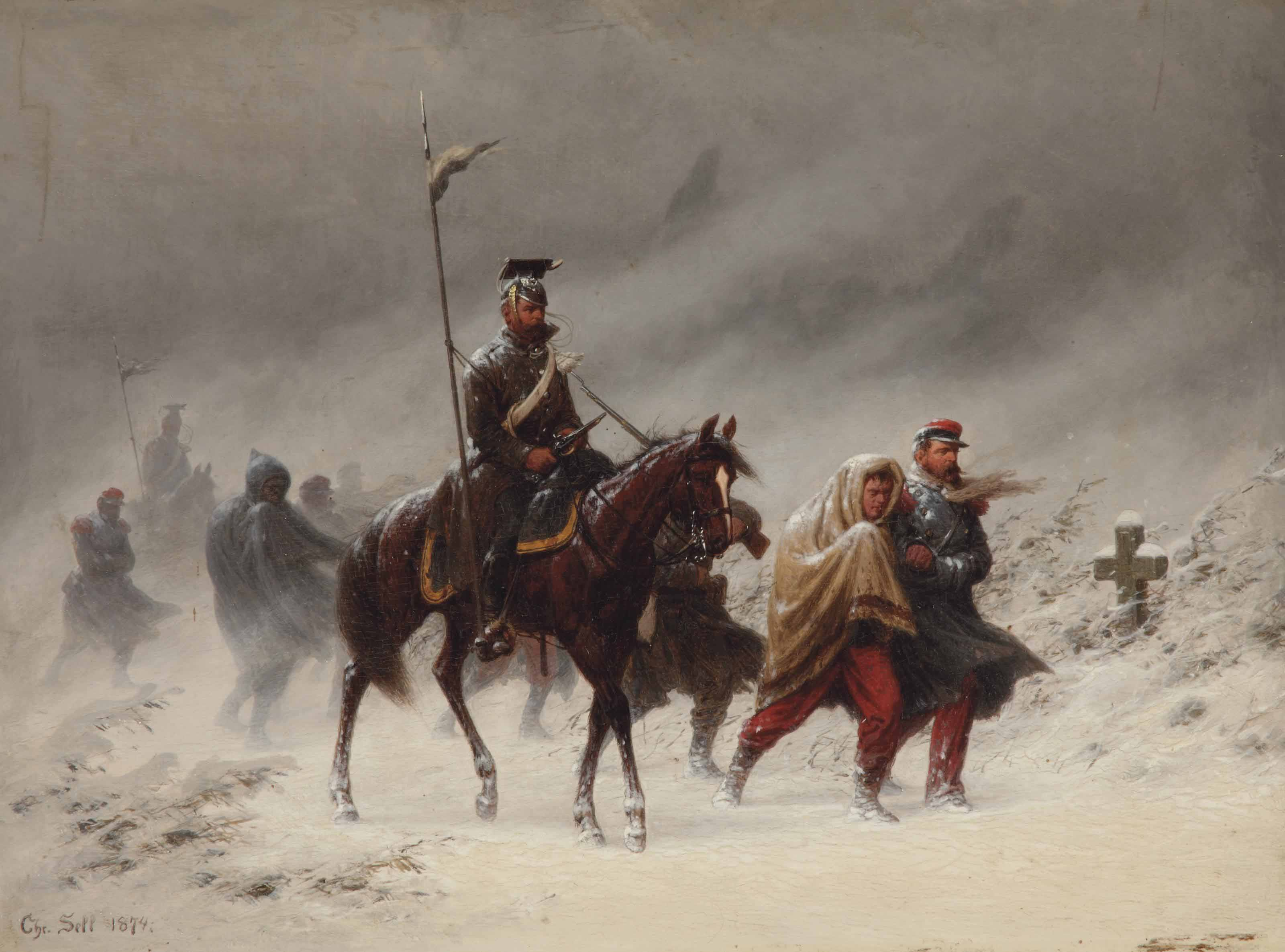 Uhlans and French prisoners of war in a winterlandscape