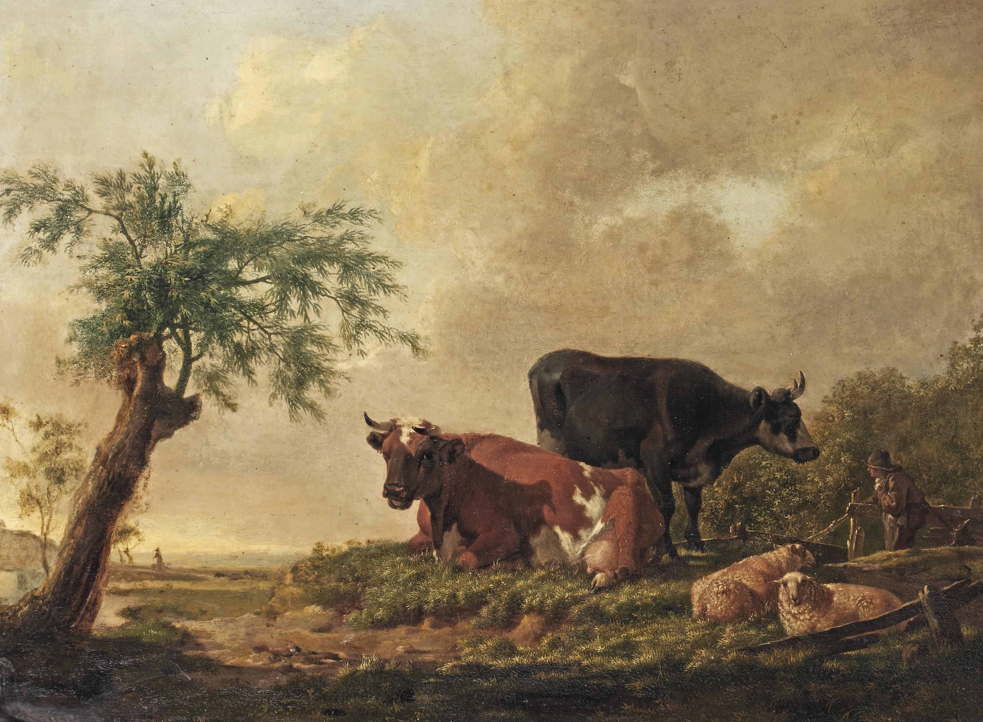 A pastoral landscape with a farmer and his cattle resting