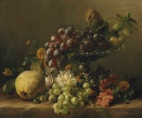 A quince, dandelions, daisies, dahlia's, and a plateau with grapes, all on a ledge