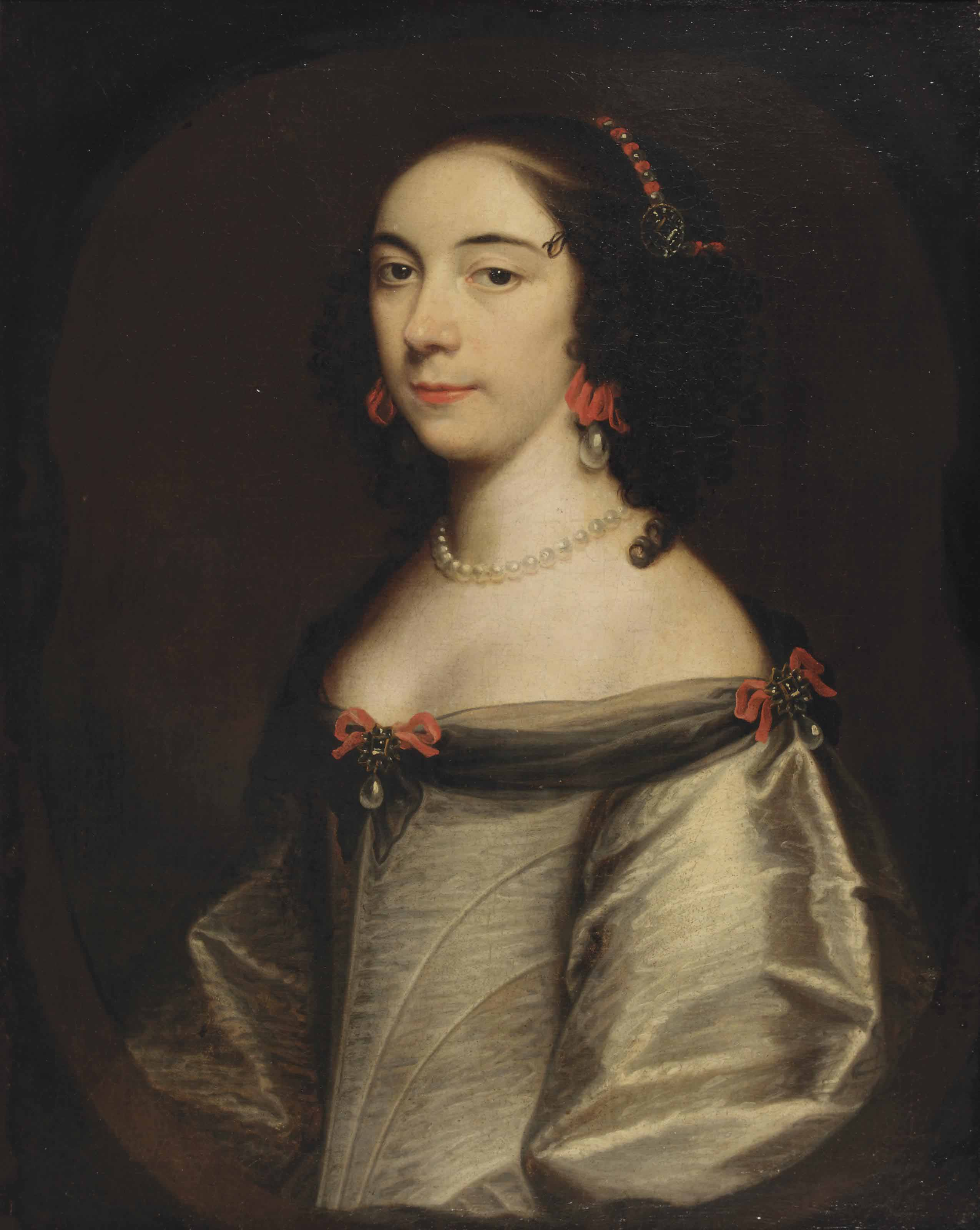 Portrait of a lady, half-length, in a white silk dress, adorned with red bows and pearls, pearl earrings and a pearl necklace, in a painted cartouche
