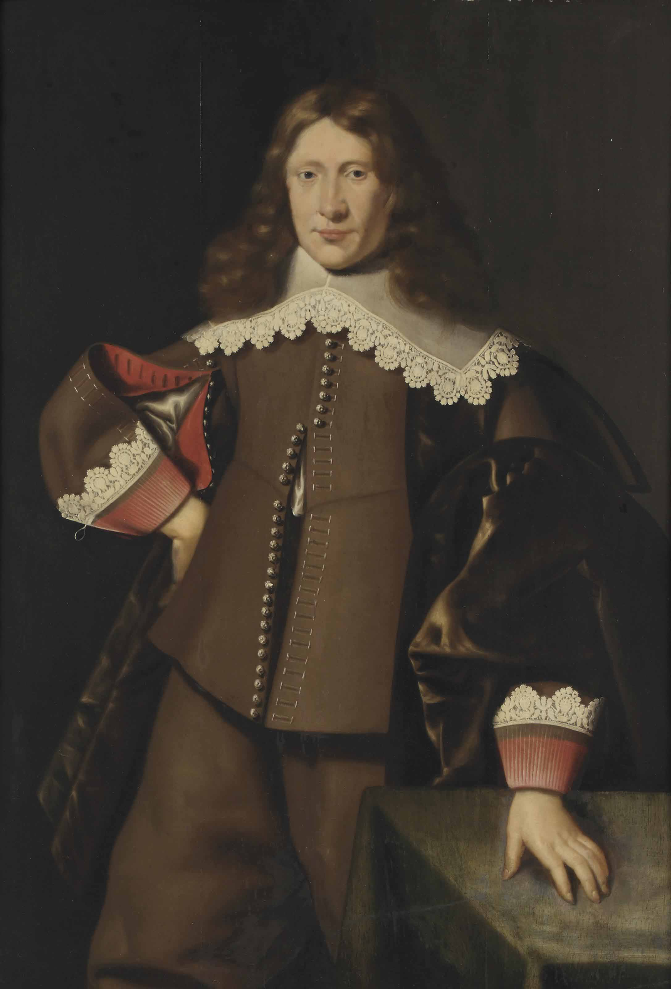 Portrait of a gentleman, three-quarter-length, in a brown costume with red cuffs and a white lace collar, his left hand on a table