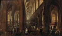 The interior of the Onze-Lieve-Vrouwe-Kerk in Antwerp with elegant figures conversing