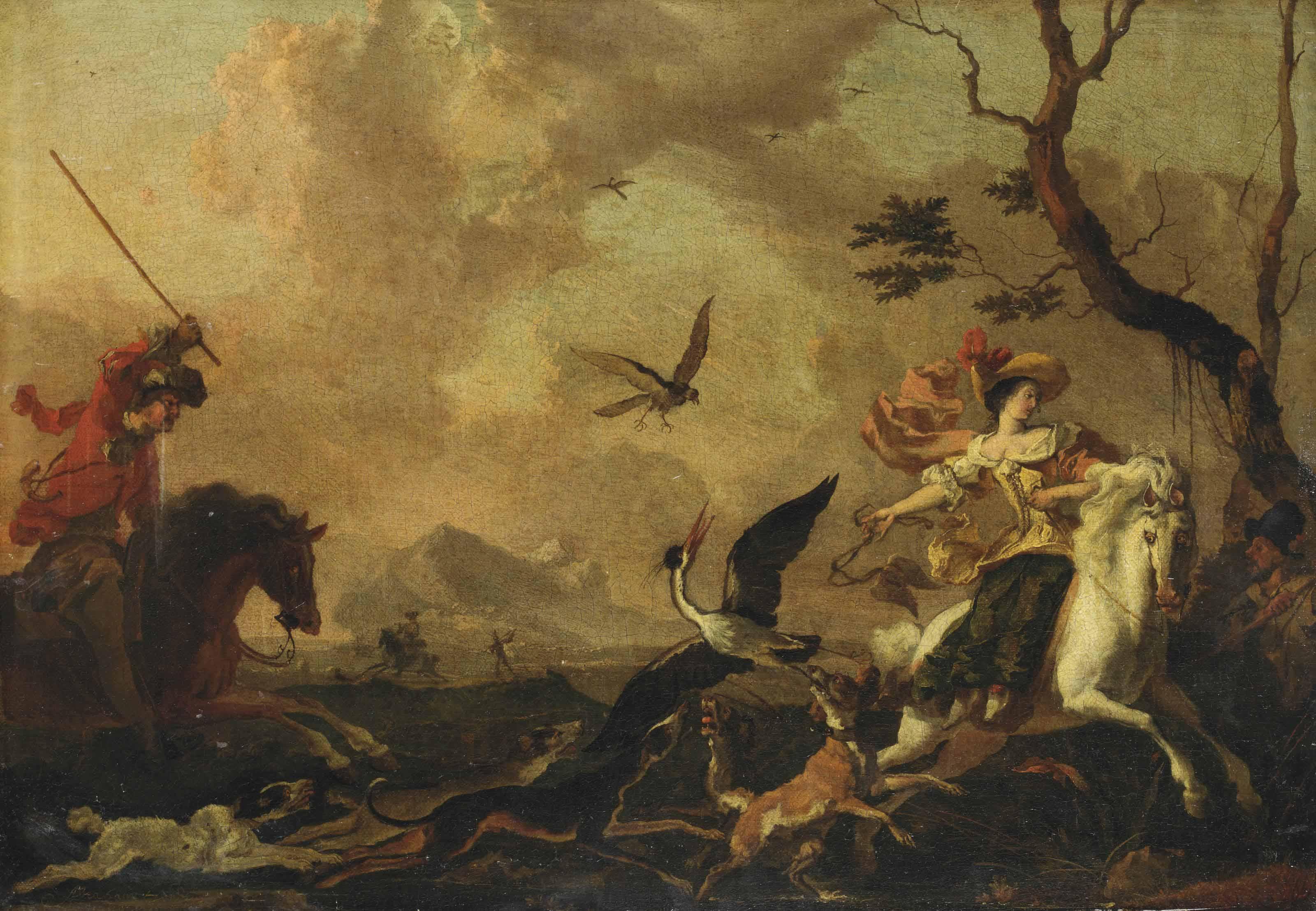 A falconry party
