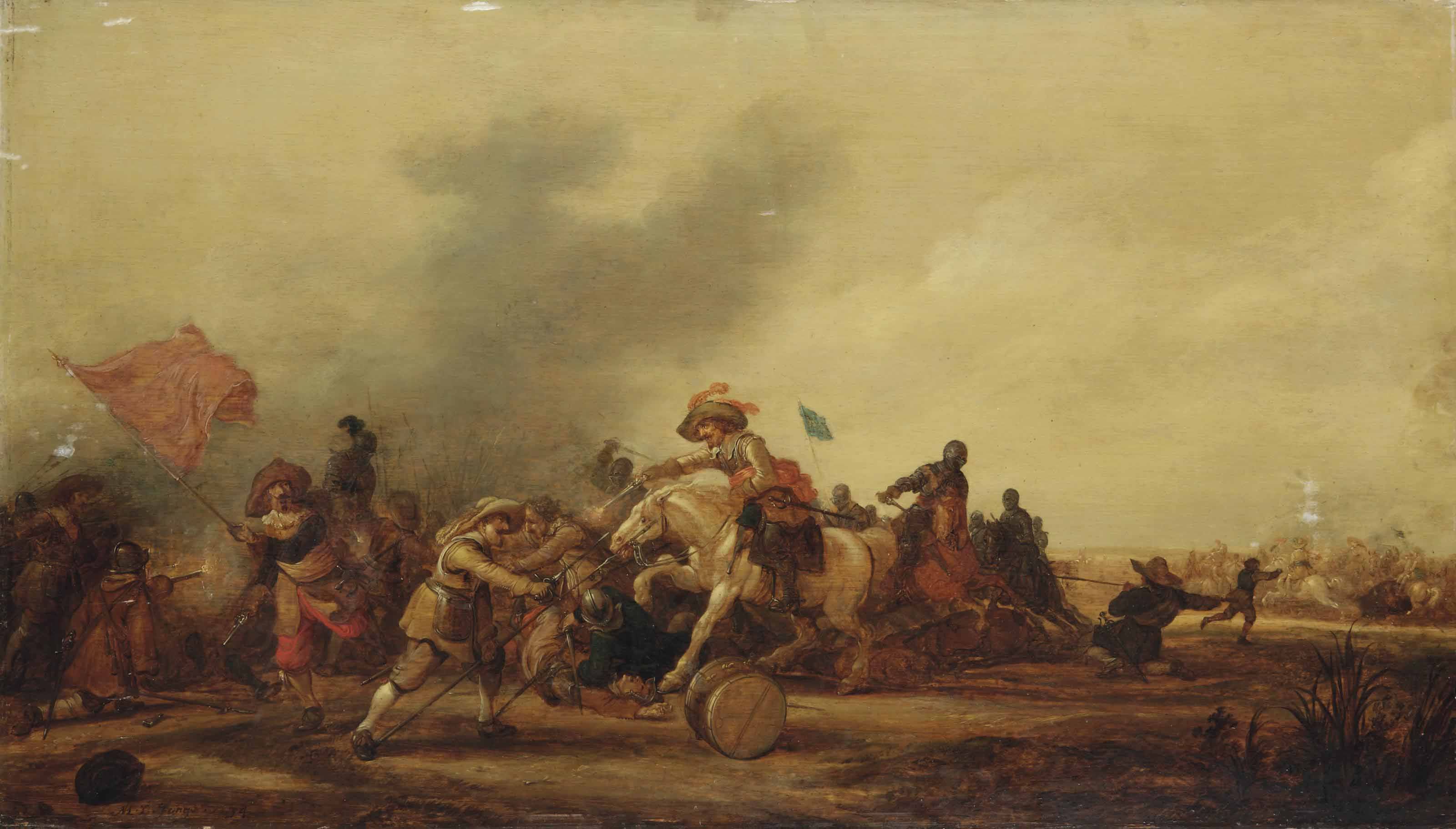 An engagement between cavalry and footsoldiers