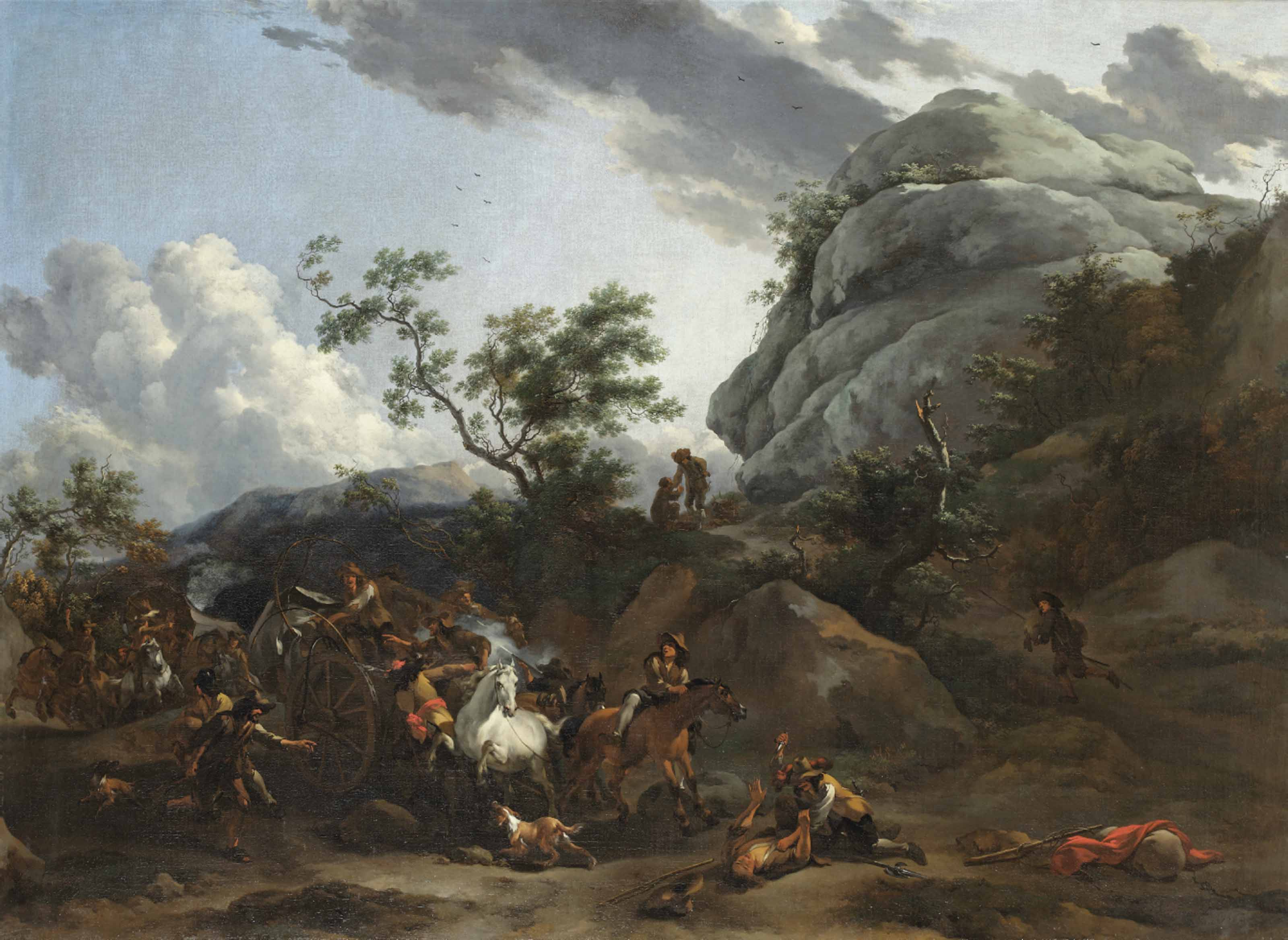 A mountainous landscape with travellers being ambushed