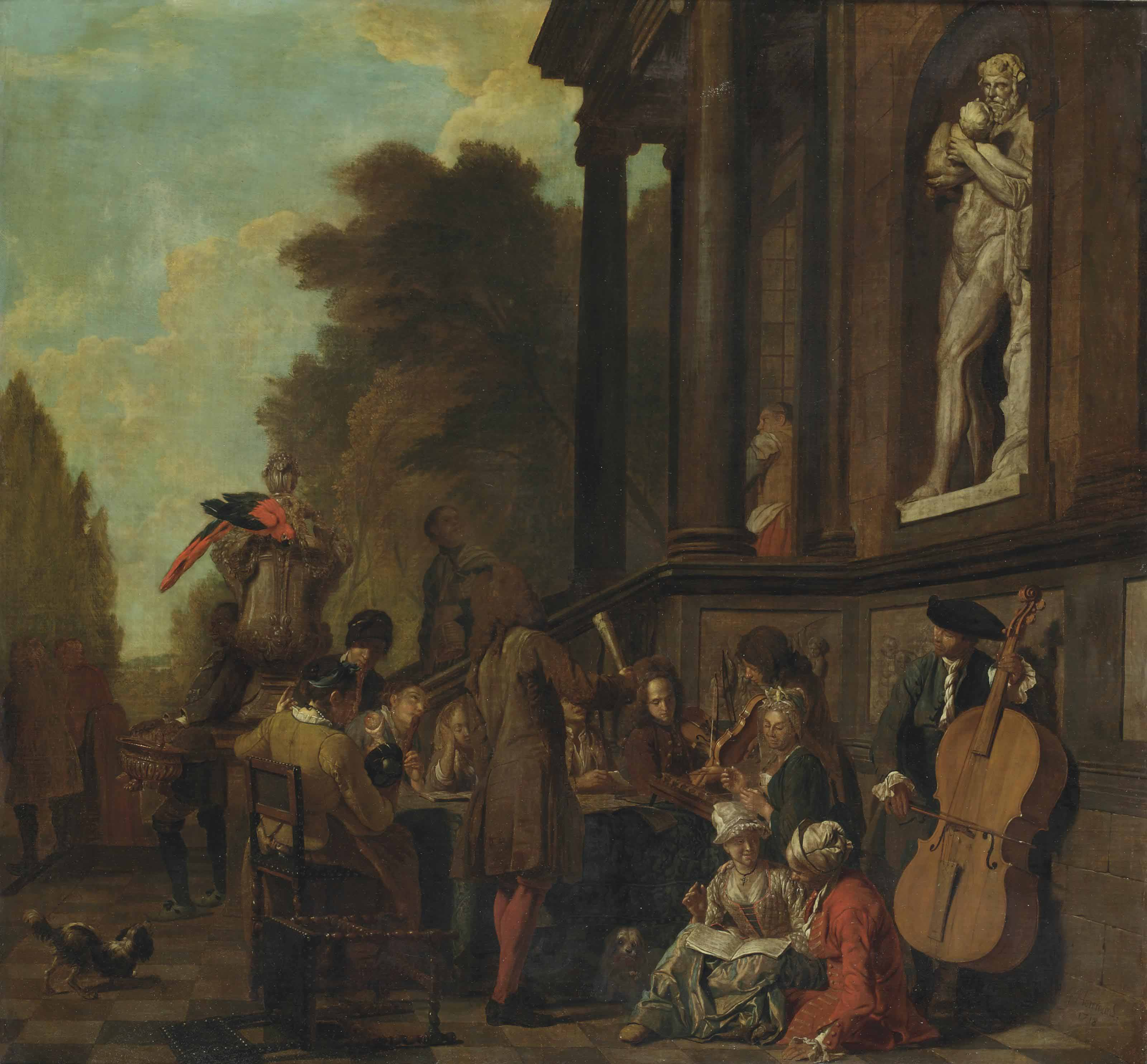 A park landscape with a musical party outside an Italianate villa