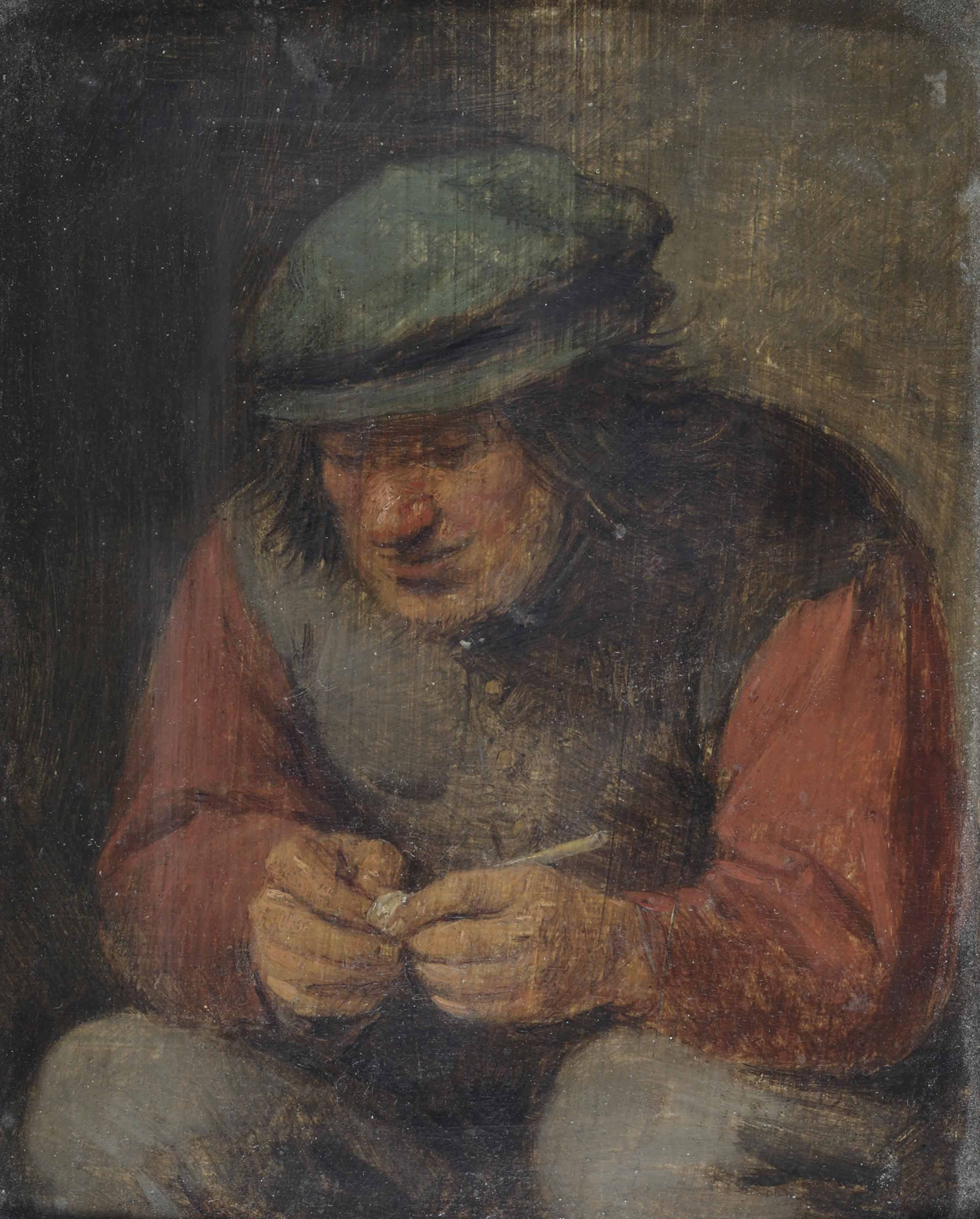 A peasant holding a pipe