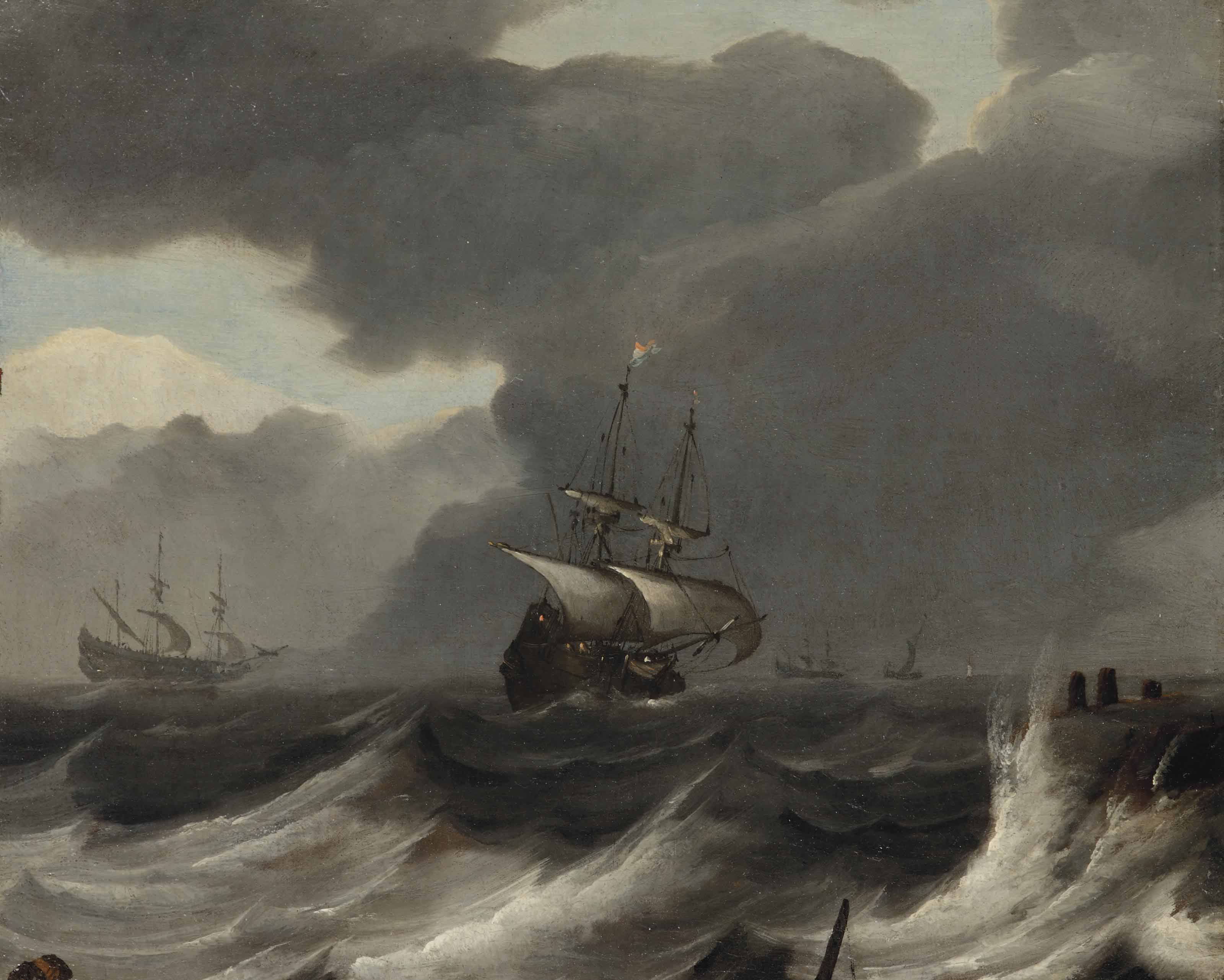 Shipping off the coast in a gale