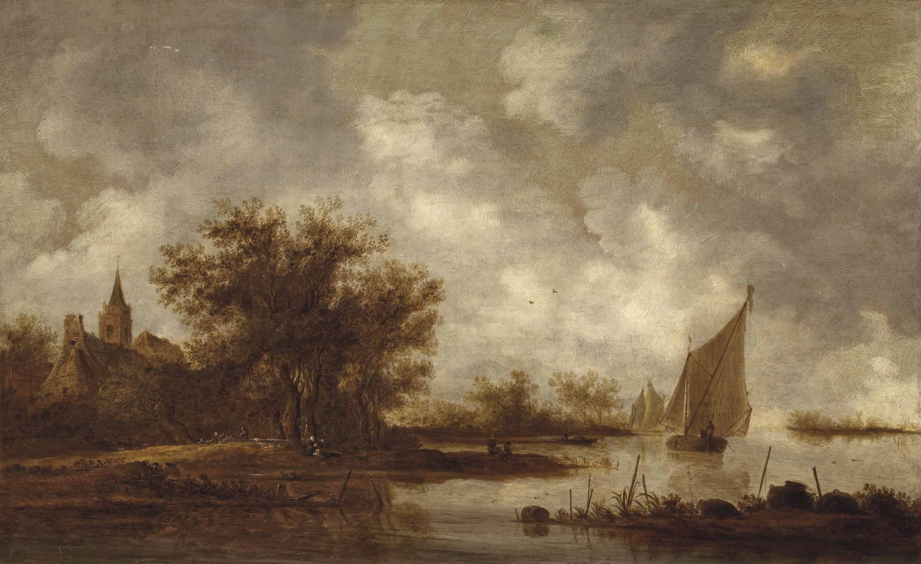 A river landscape with figures near the shore of a lake, a church beyond