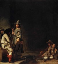Soldiers smoking, drinking and resting in a guardroom