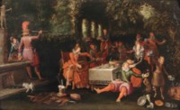An Allegory of the Five Senses; An elegant company making merry in a garden